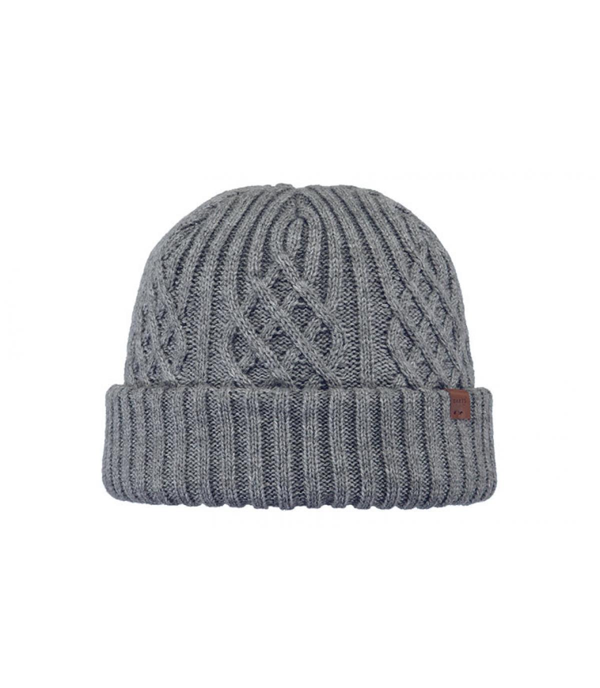 Docker Mütze grau Zopfmuster