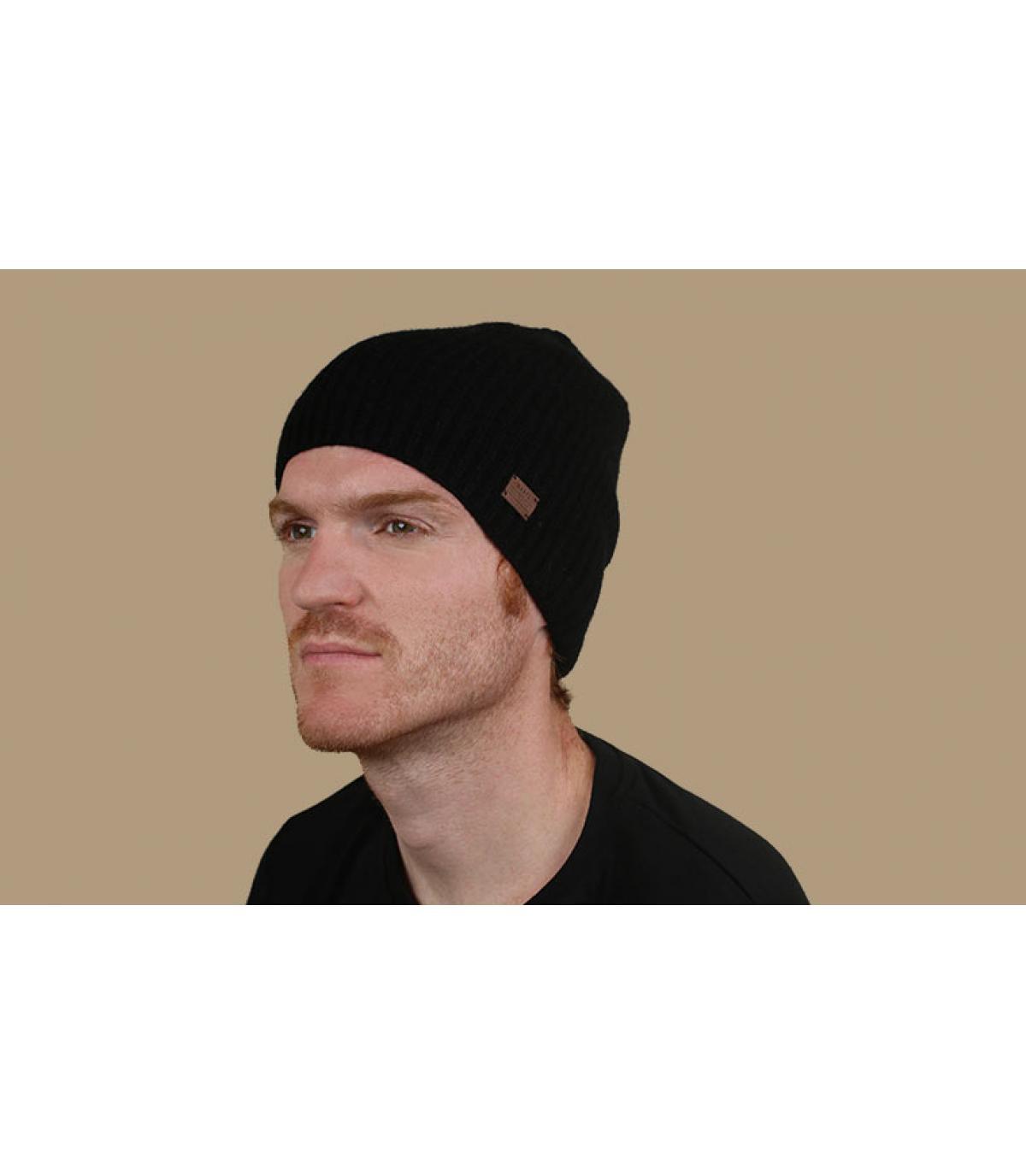 Mütze Kaschmir Wolle schwarz