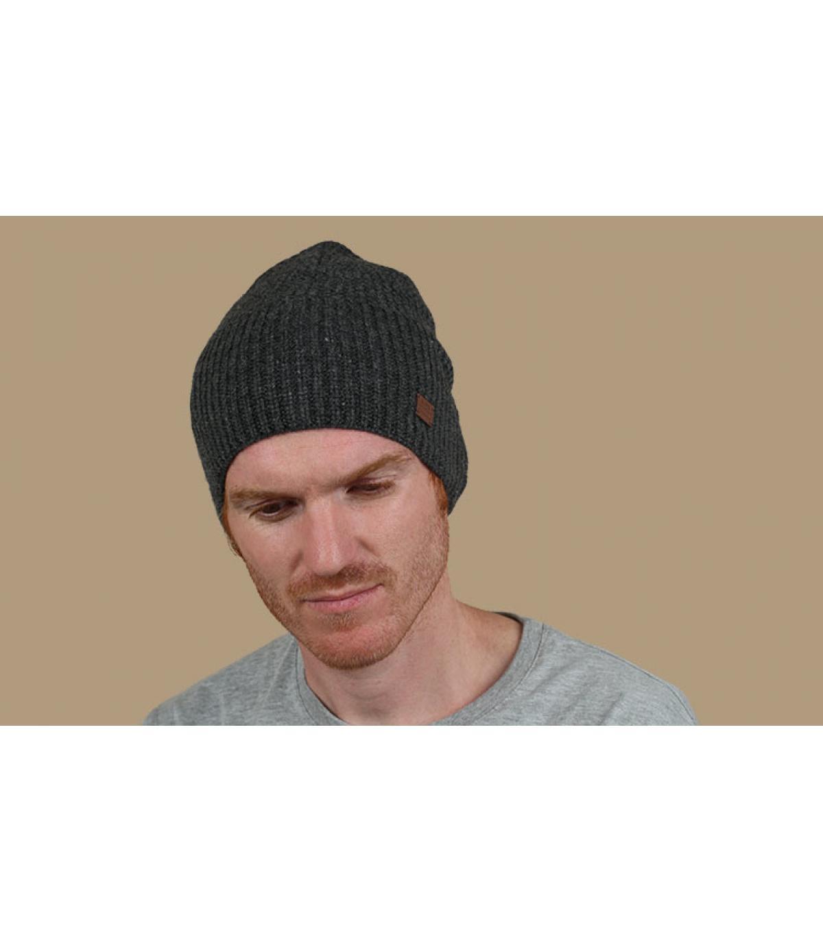Mütze Kaschmir Wolle  grau