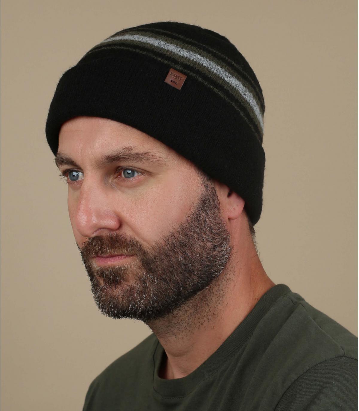 Mütze Kamelwolle Streifen schwarz