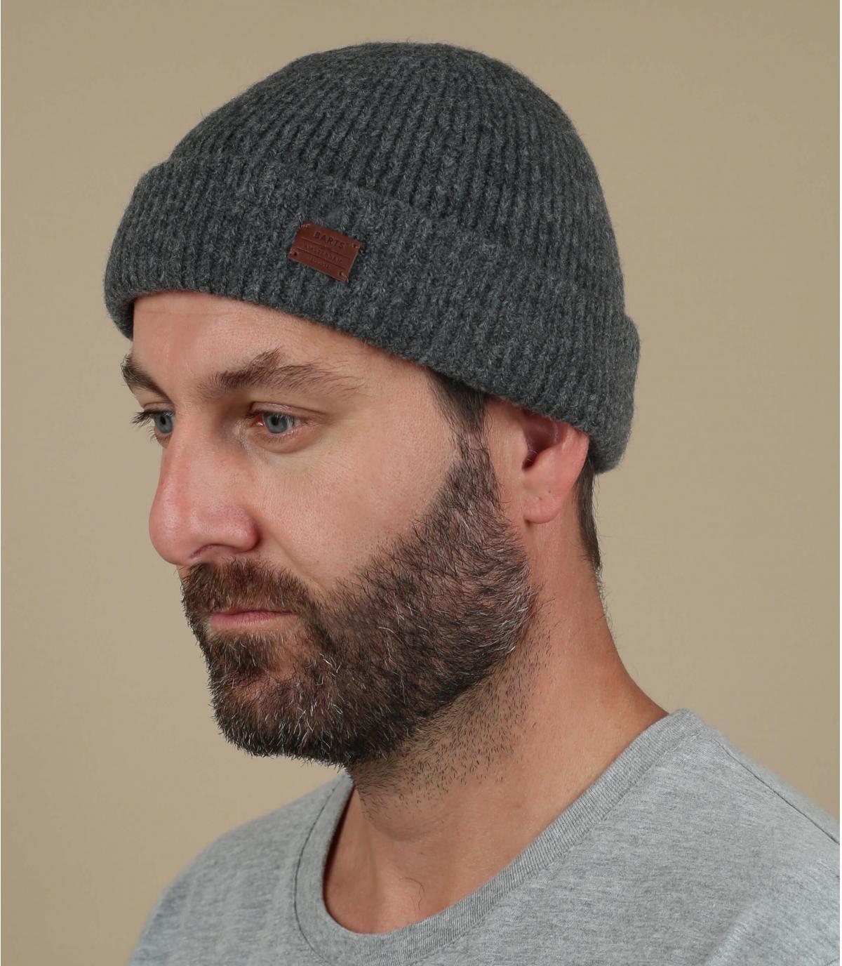 Mütze Yak Wolle grau