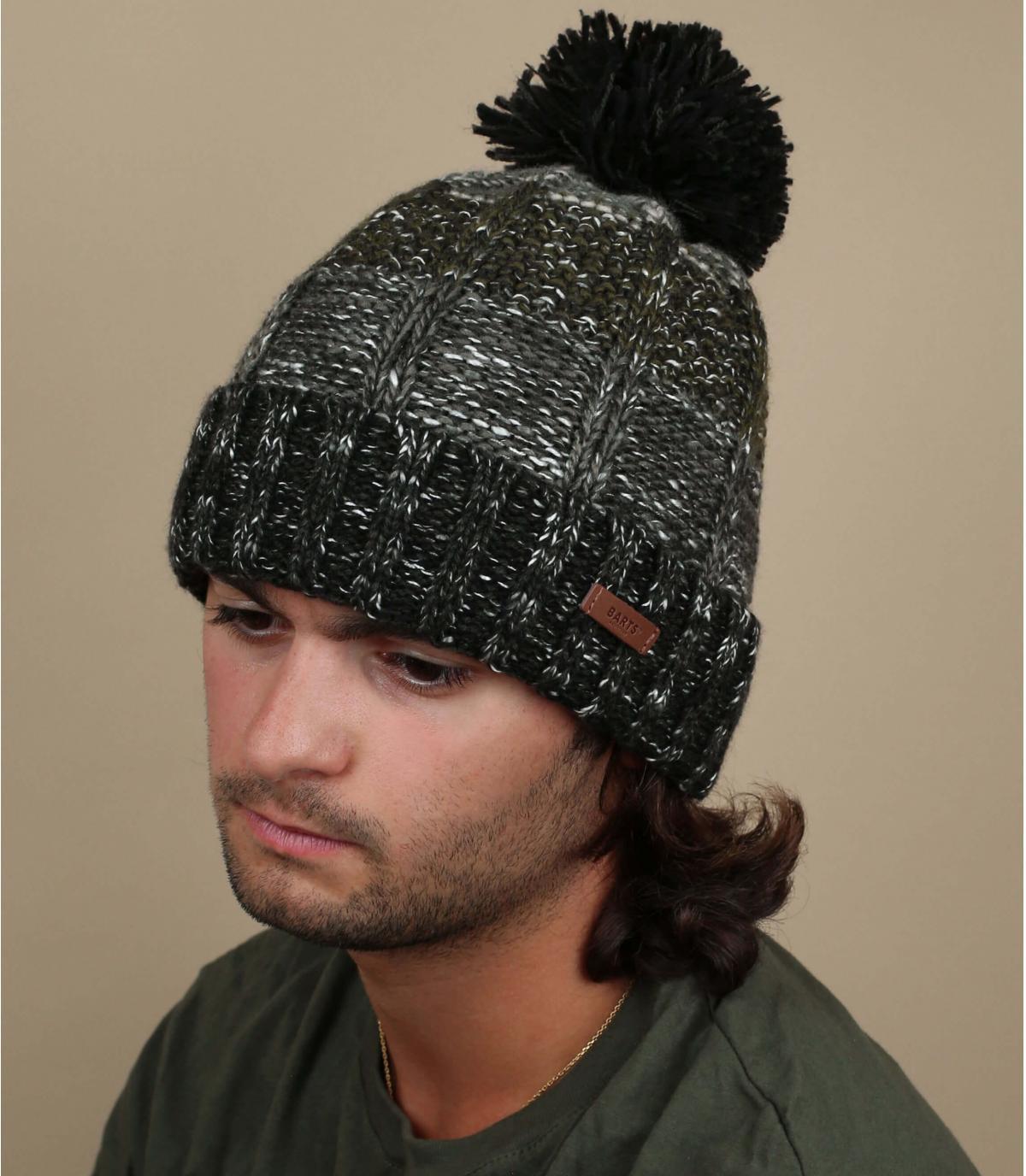 Bommel Mütze Streifen schwarz