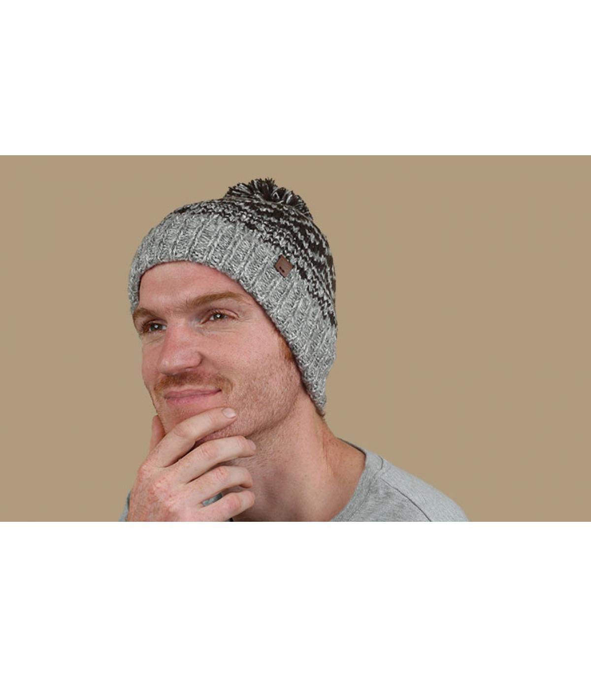 Bommel Mütze Motive grau