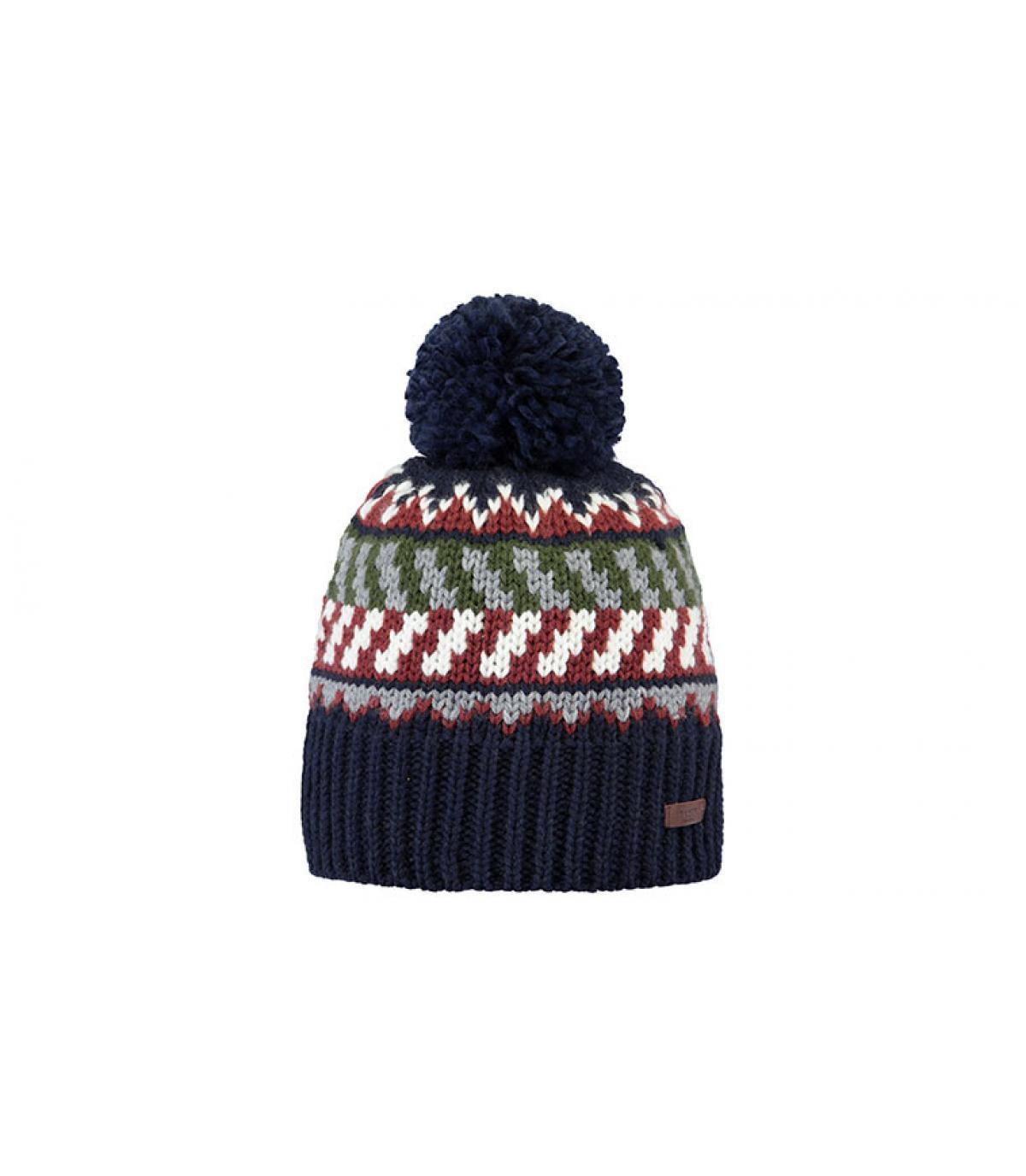 Bommel Mütze blau rot