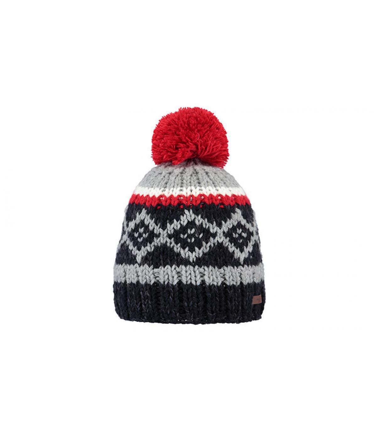 Bommel Mütze Motive blau rot