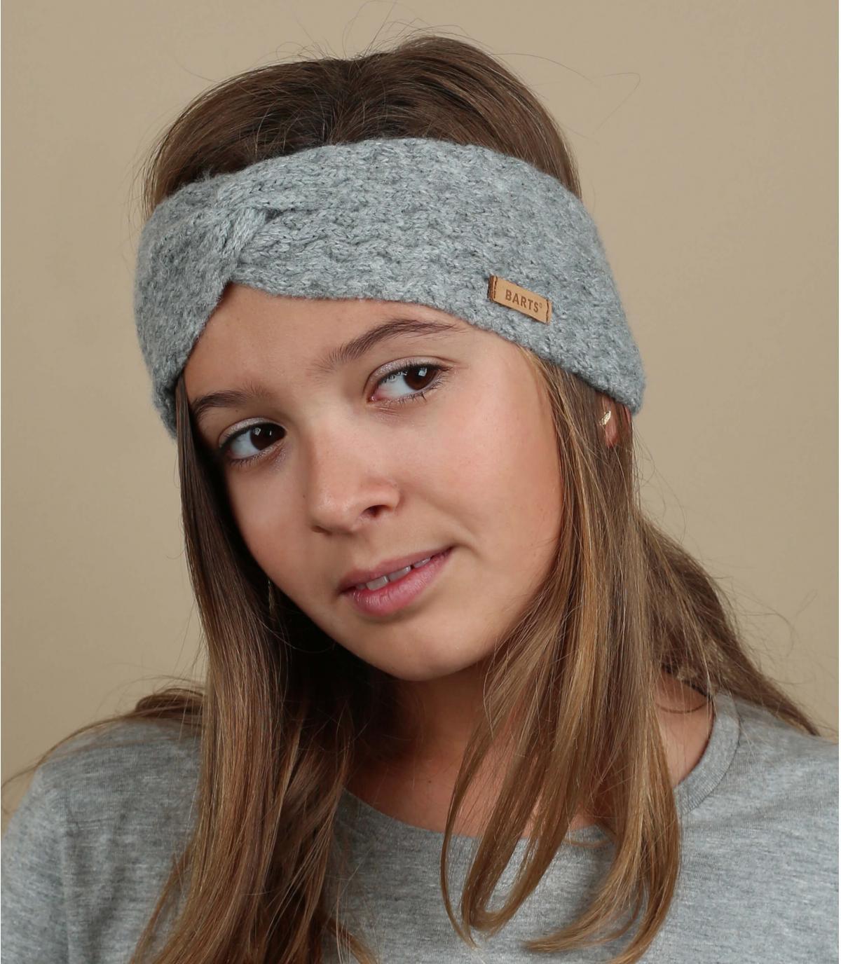 Stirnband Kinder grau Zopfmuster