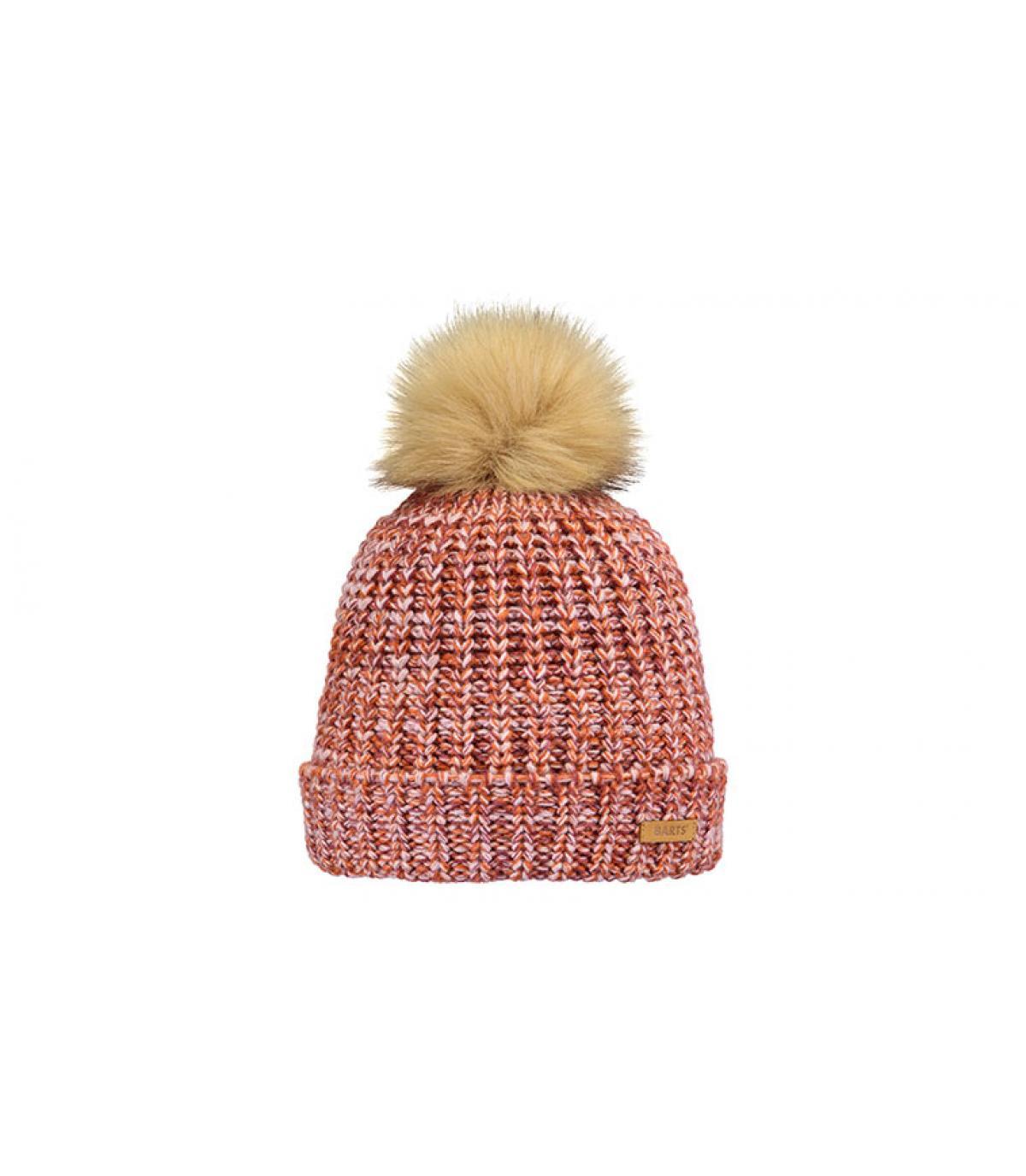 Mütze Mädchen rosa Fellbommel