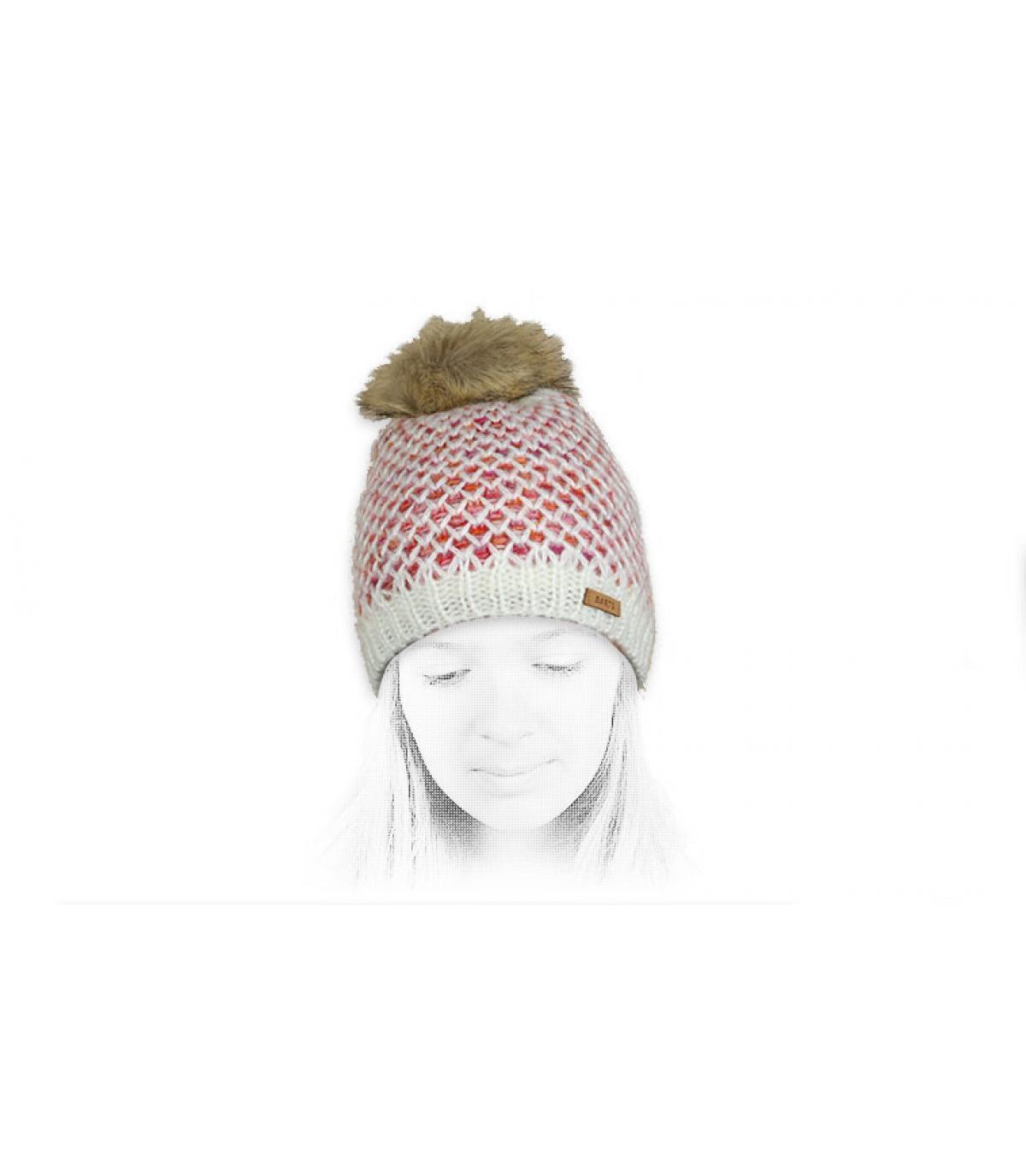 Mütze Mädchen weiß Fellbommel