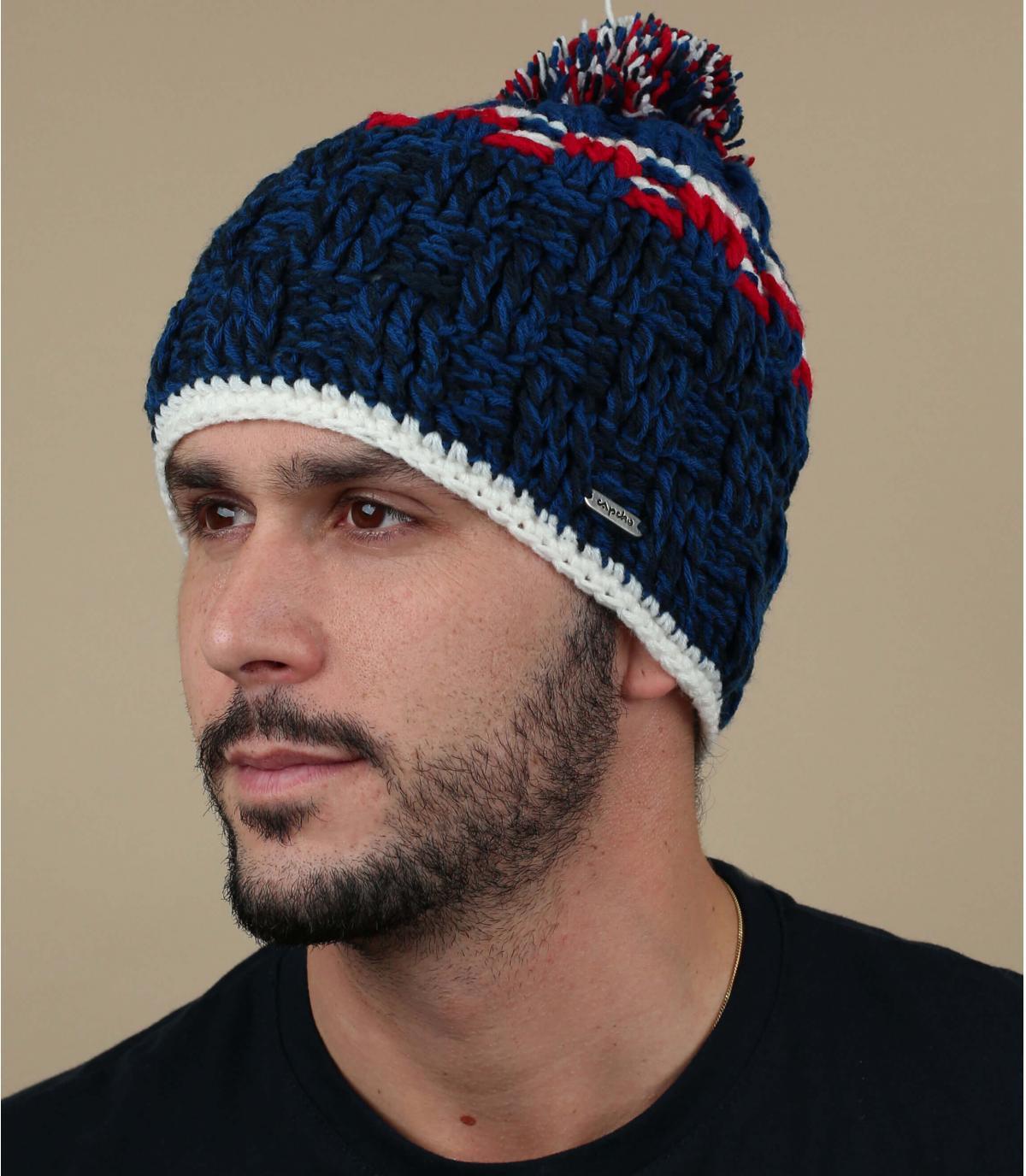 Bommel Mütze blau Capcho