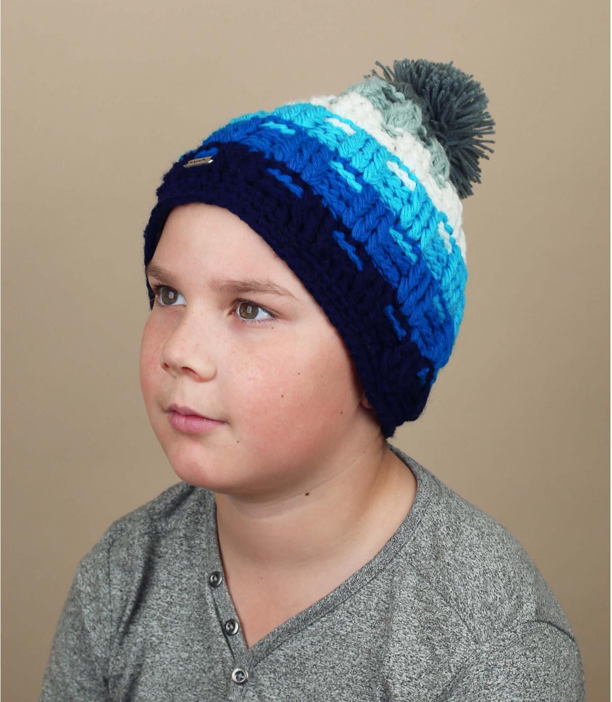 Kinder Bommel Mütze blau