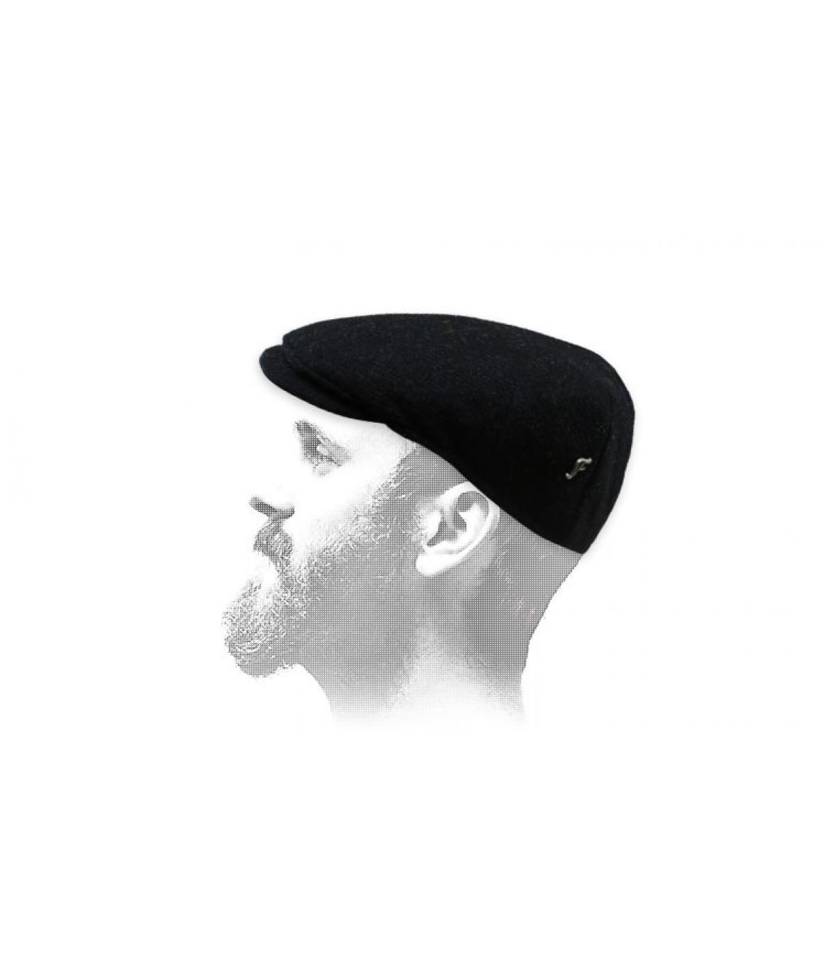 Schwarze Flatcap Tweed Fléchet