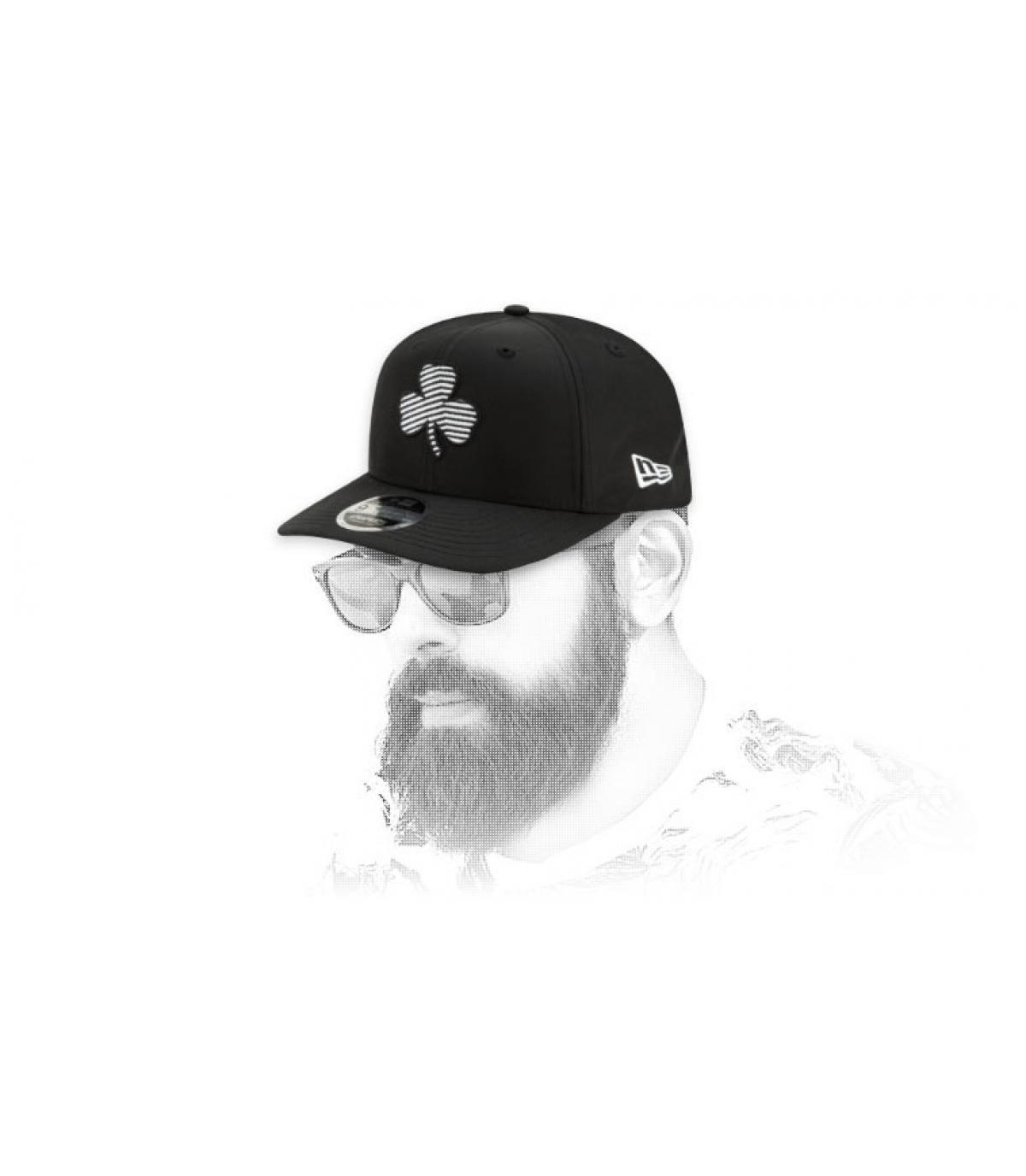 snapback Celtics schwarz gestreiftes Logo