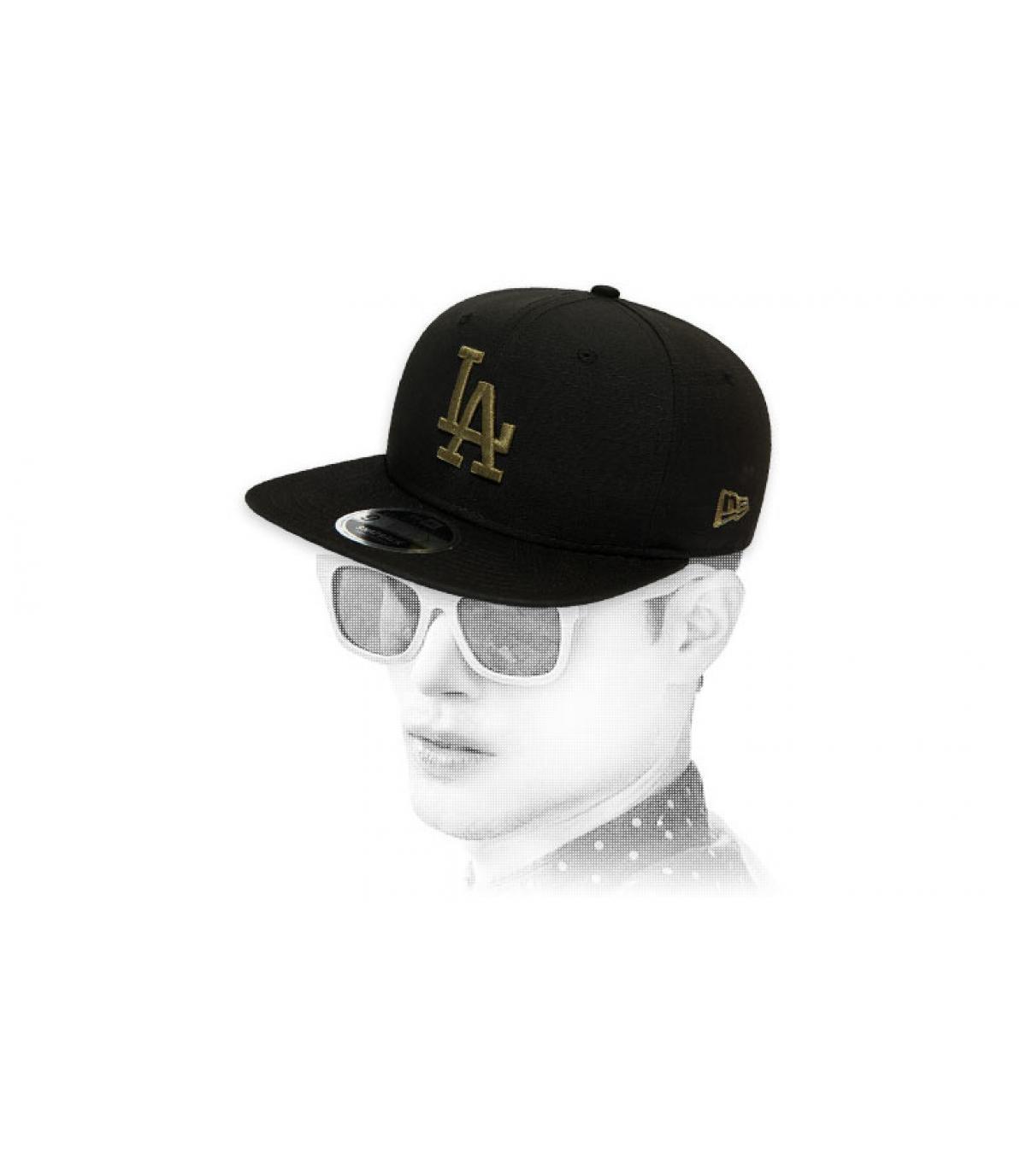 snapback LA schwarz khaki