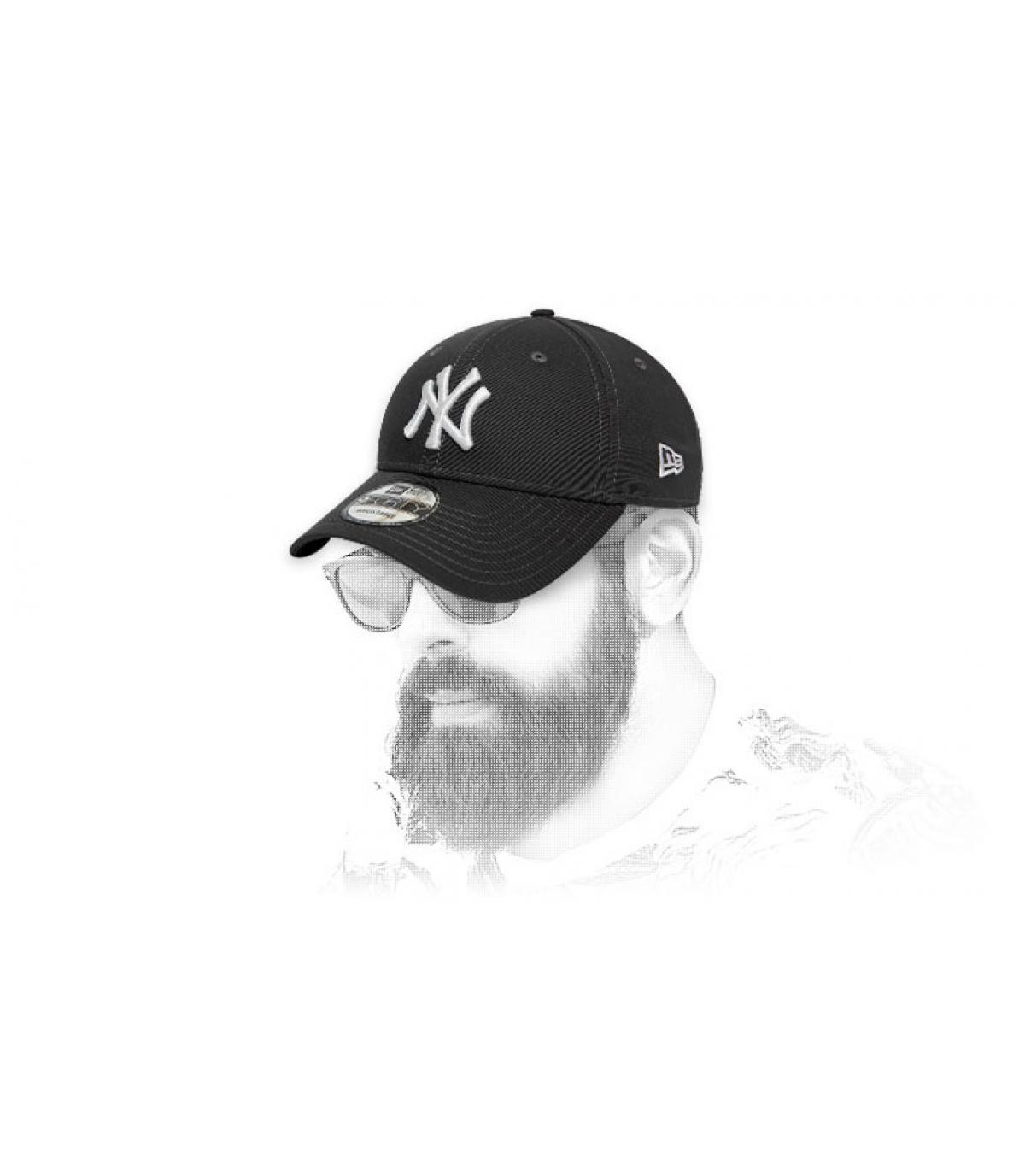 Cap NY grau weiß