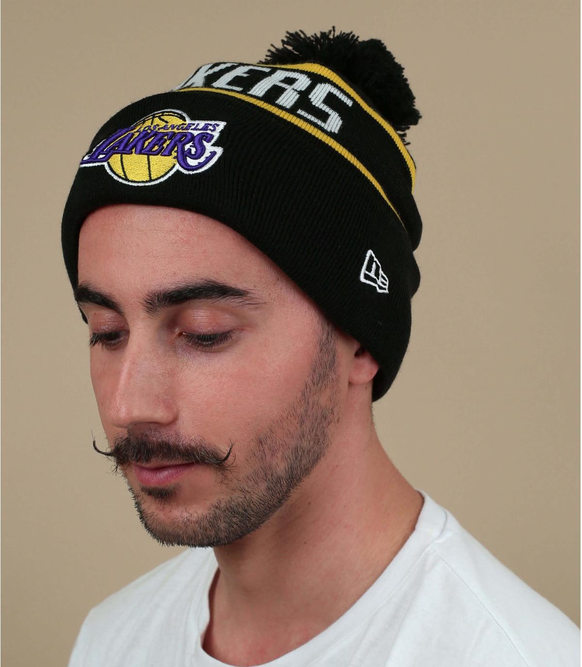 Bommelmütze Lakers schwarz