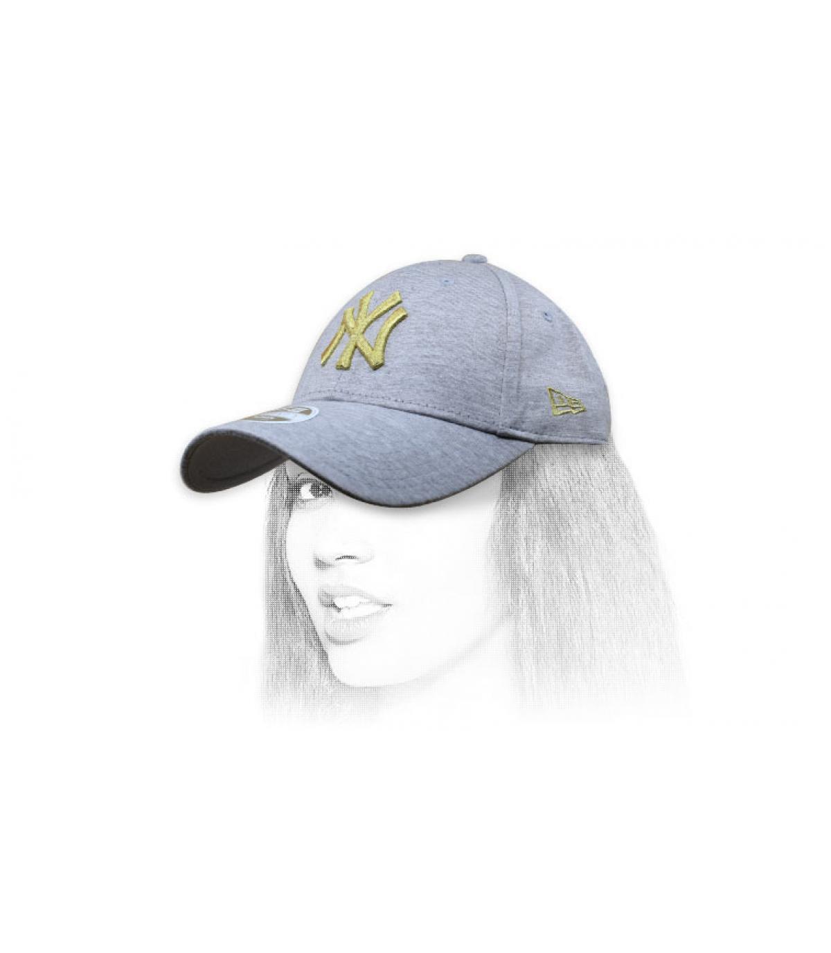 Damen Cap NY grau Gold