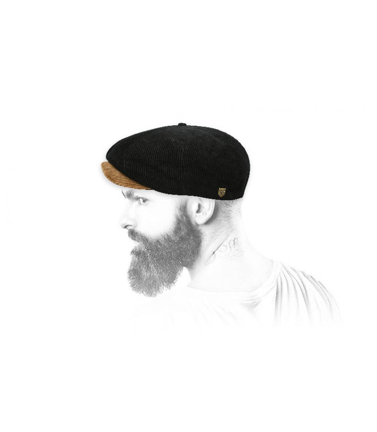 Newsboy Cap schwarz kordsamt