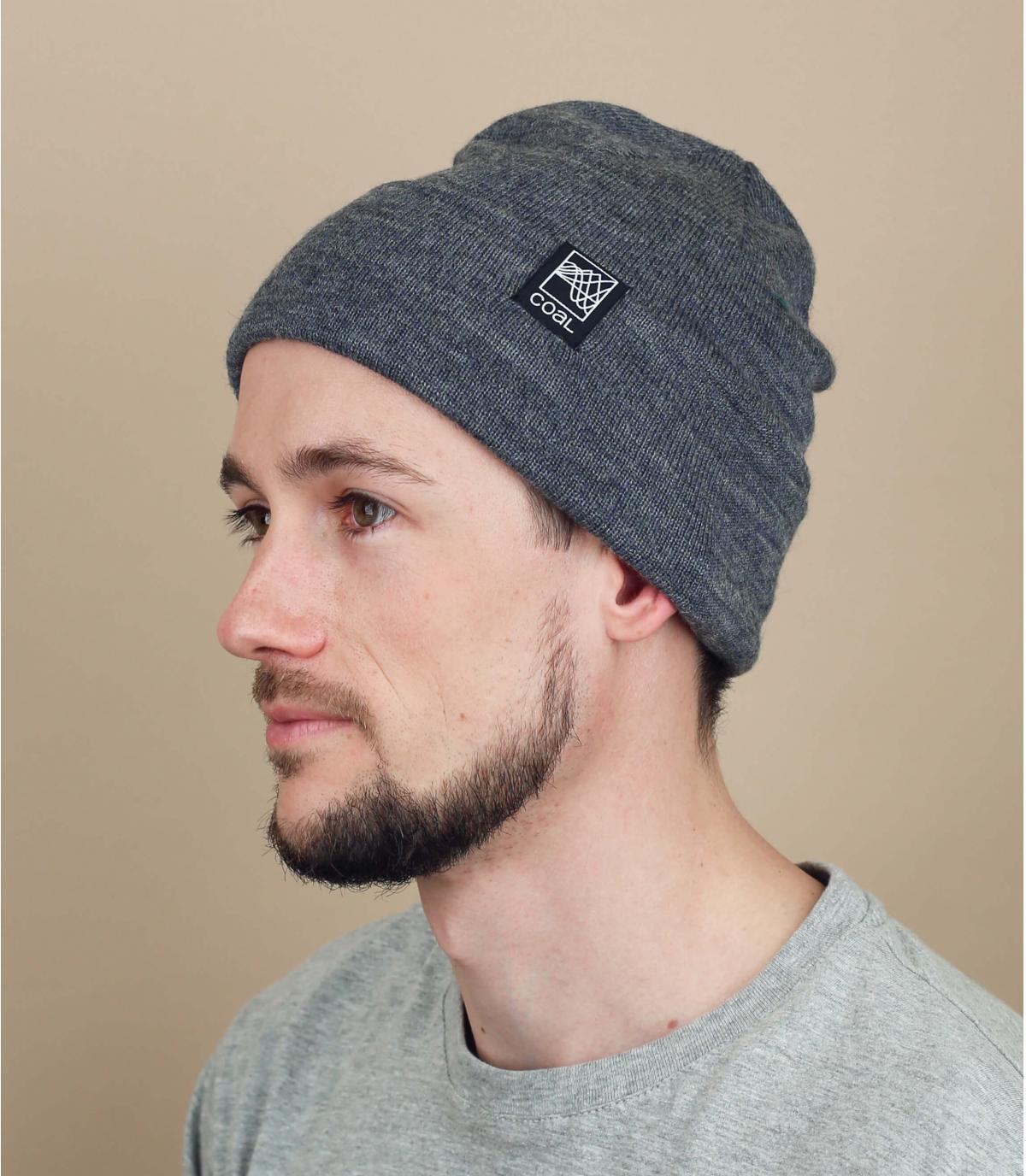 Mütze Revers grau Coal Wolle