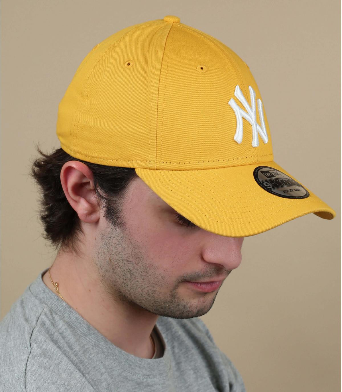 Cap NY gelb weiß