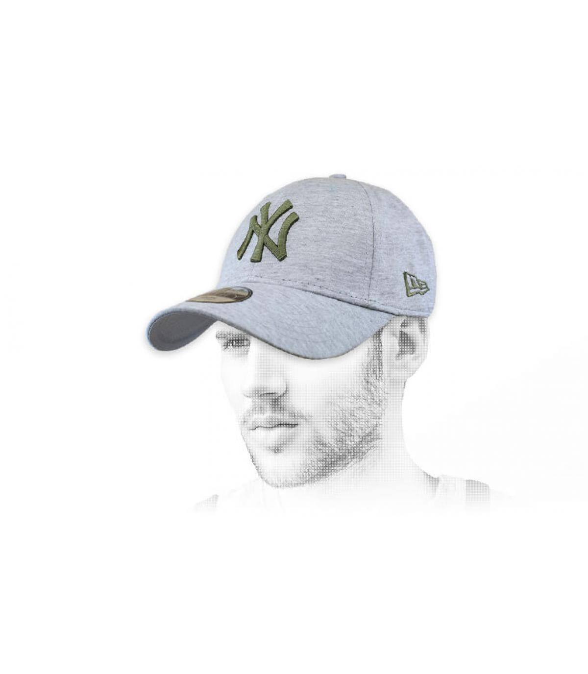 Cap NY grau grün
