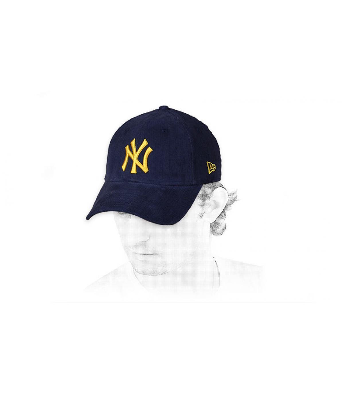 Cap NY  Kordsamt  blau gelb