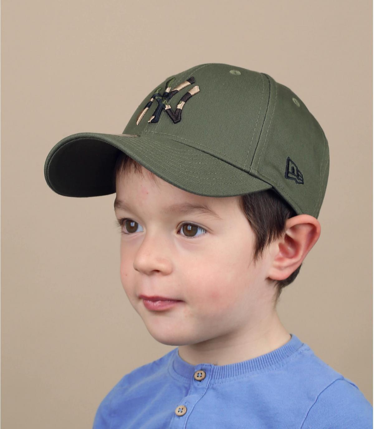 Kinder Cap NY grün camo