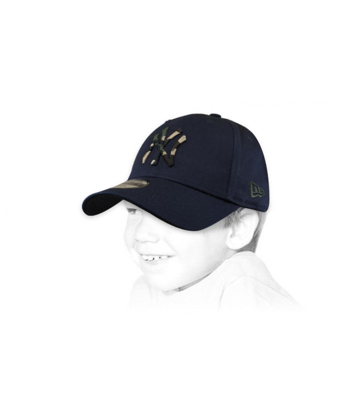 Kinder Cap NY blau camo