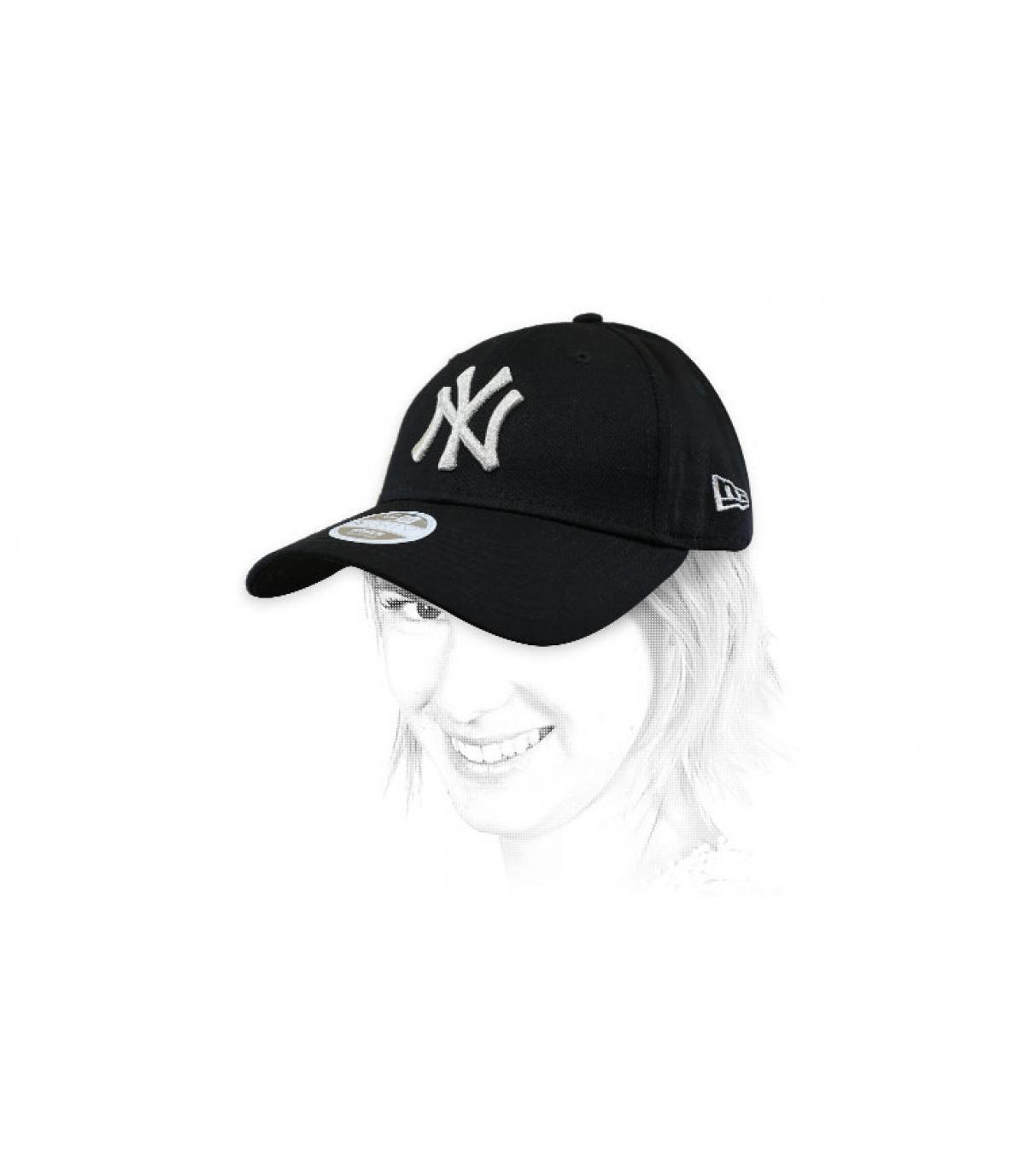 Damen Cap NY schwarz silber