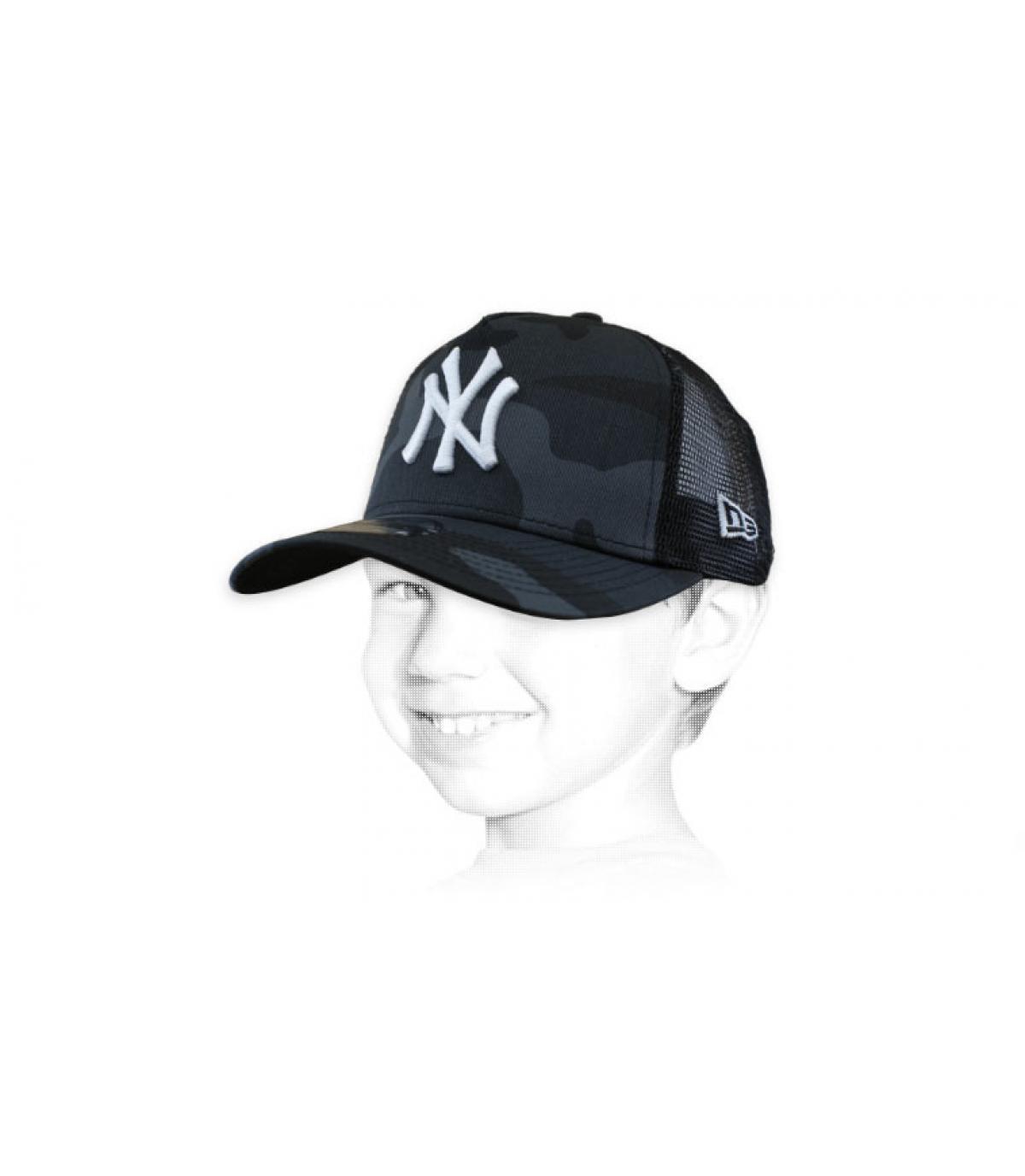 Kinder Trucker NY camo grau
