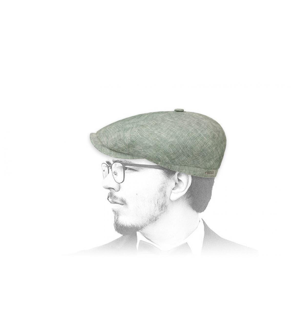 Newsboy Cap Leinen grün