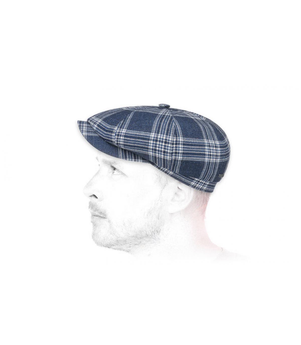 Newsboy Cap Wolle blau kariert