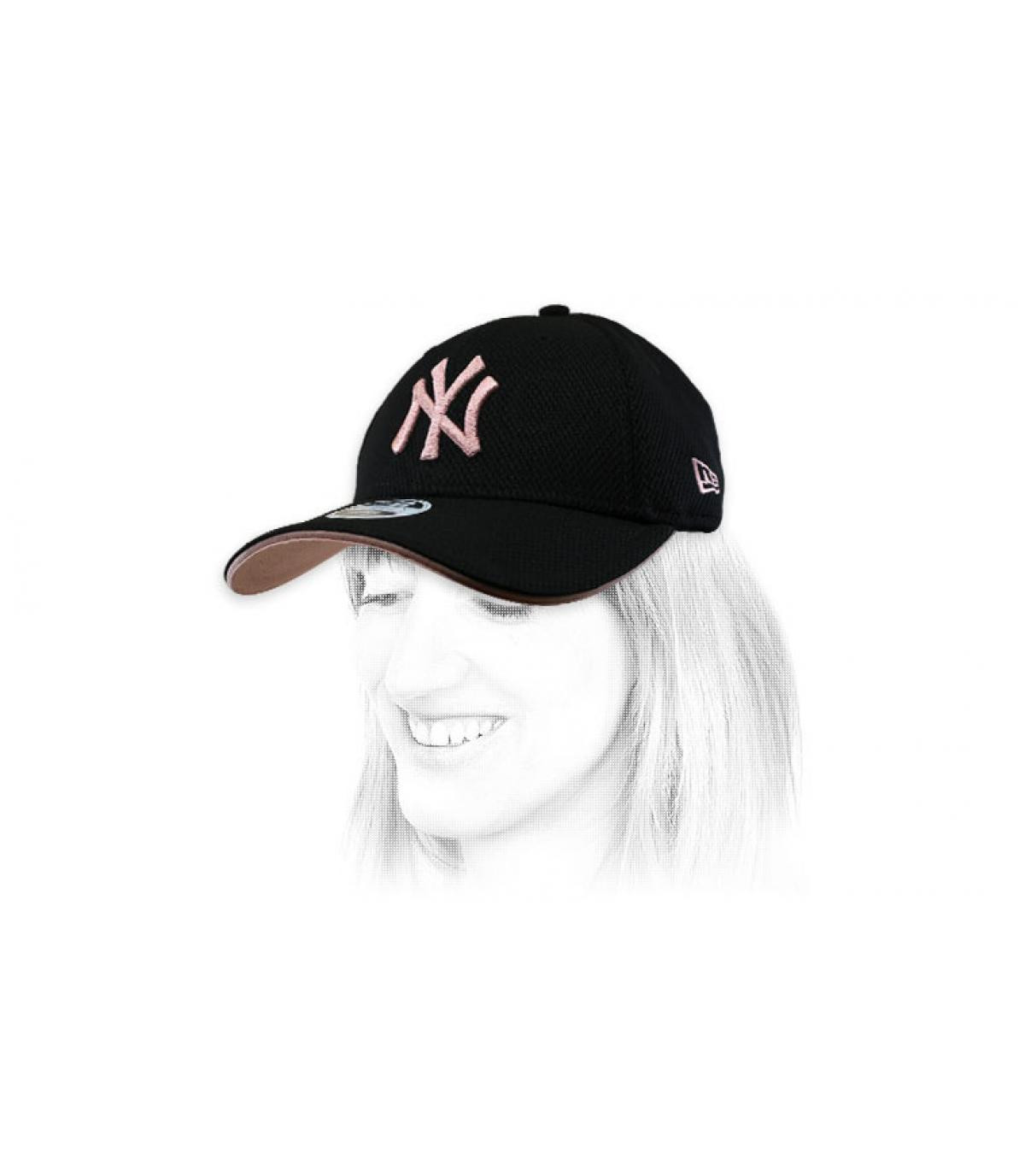 Damen Cap NY schwarz rosa