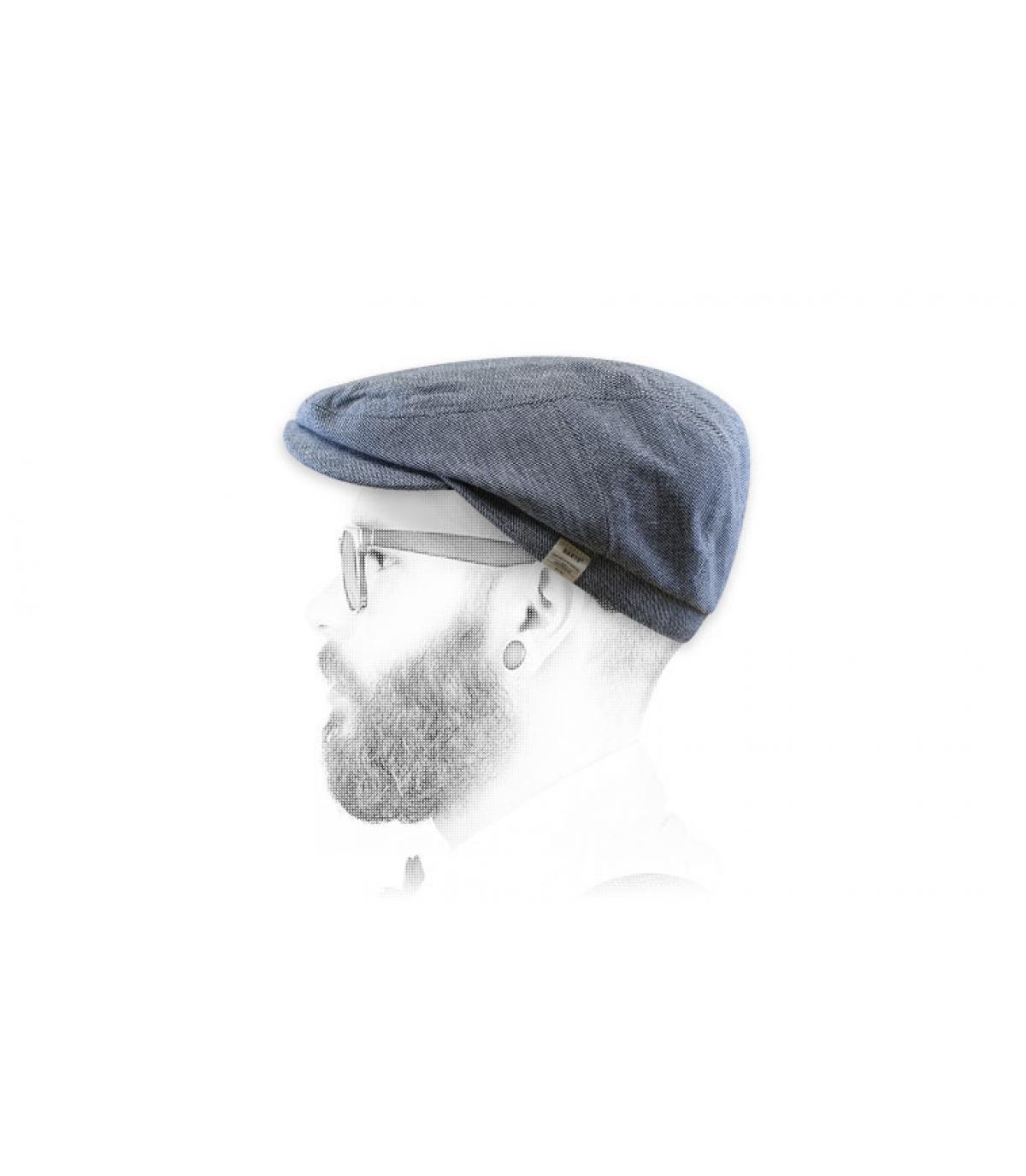 Flatcap blau Baumwolle Leinen