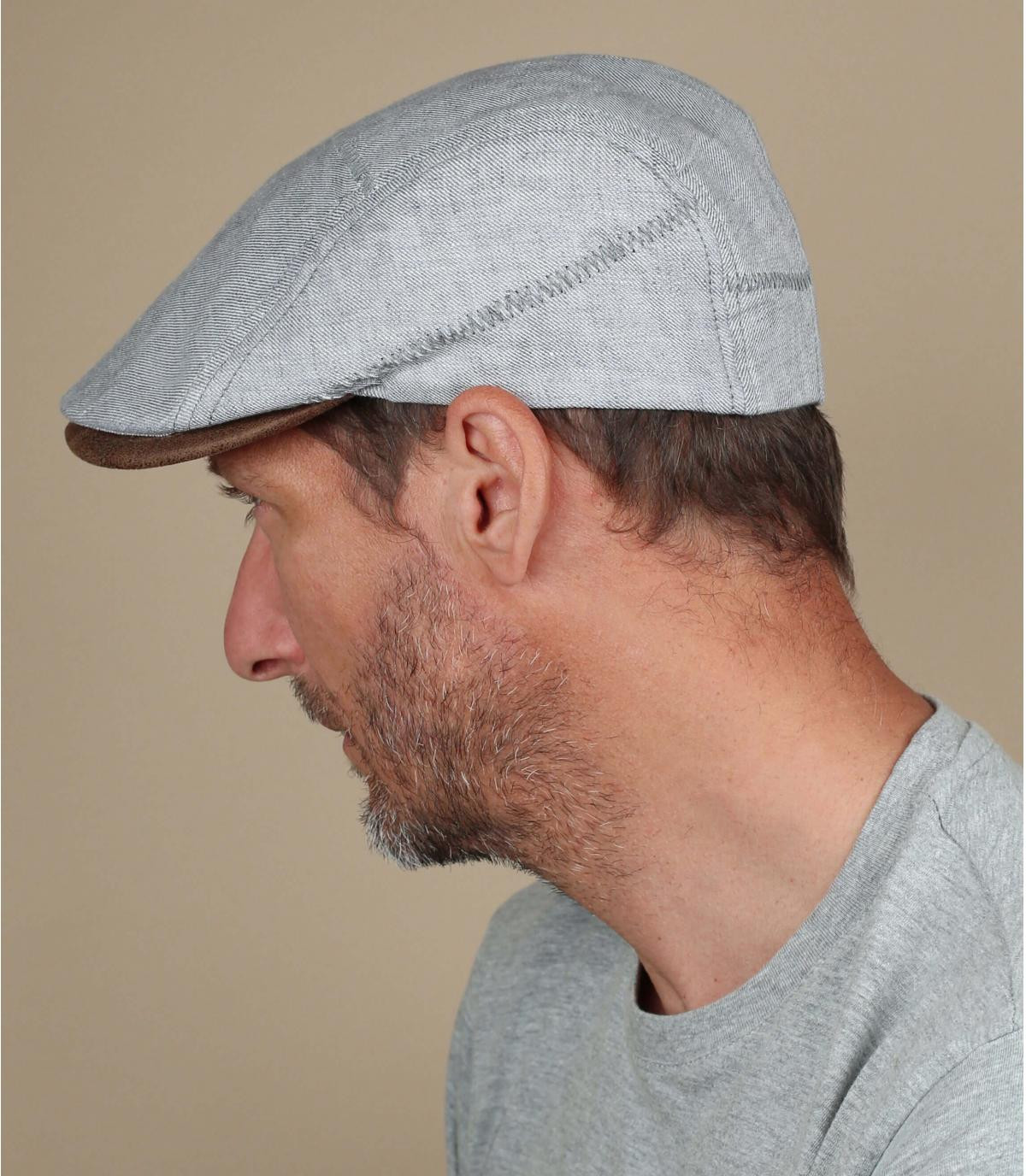 Flatcap grau Leinen