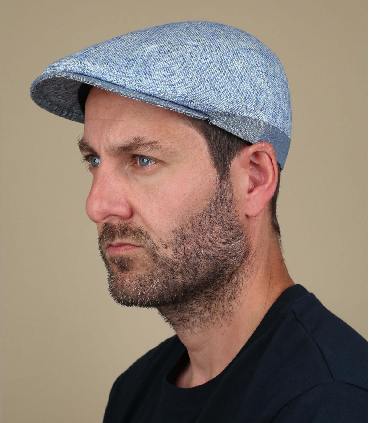 Flatcap blau Leinen Baumwolle