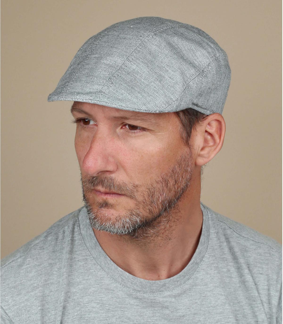 Flatcap Baumwolle grau