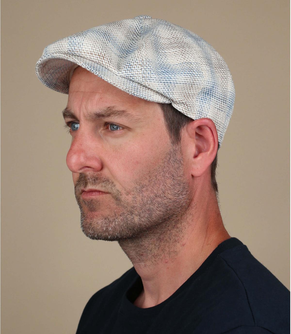 Newsboy Cap kariert beige blau