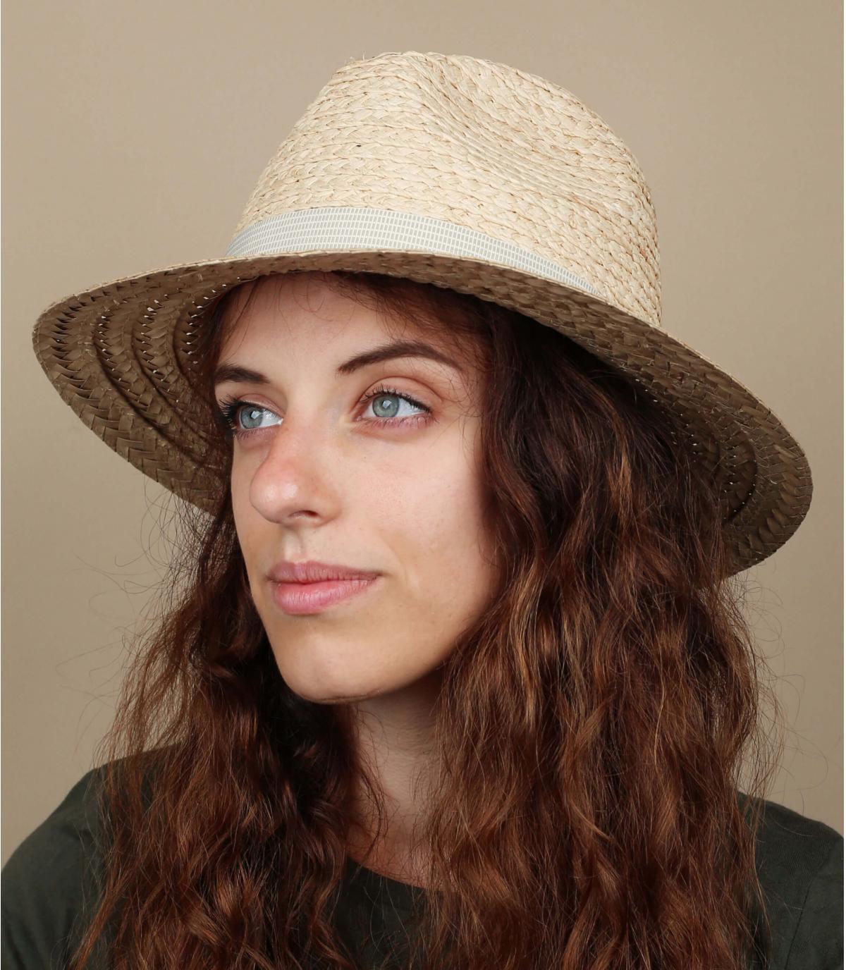 Damen Strohhut zweifarbig