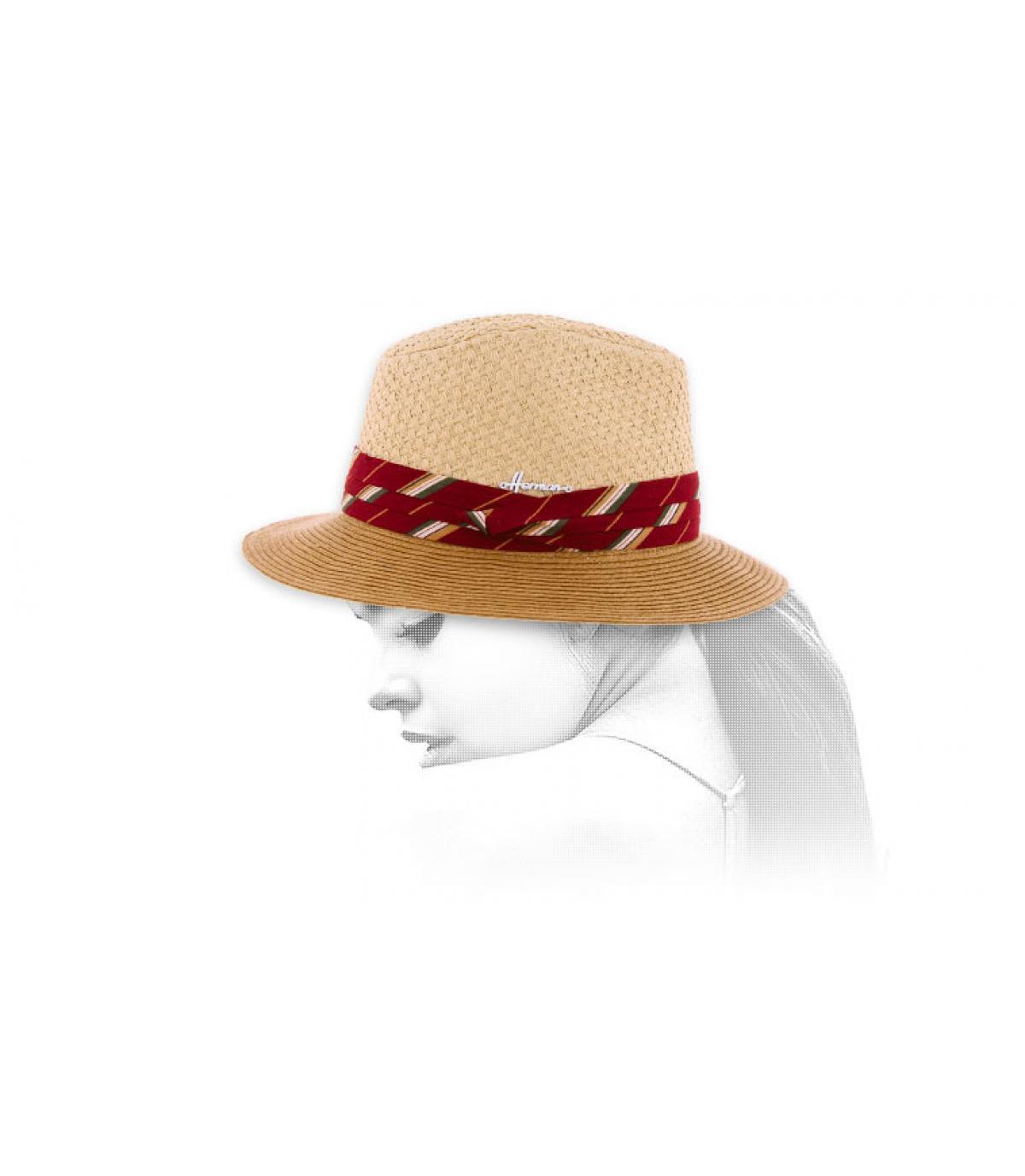 Strohhut zweifarbig rotes Hutband