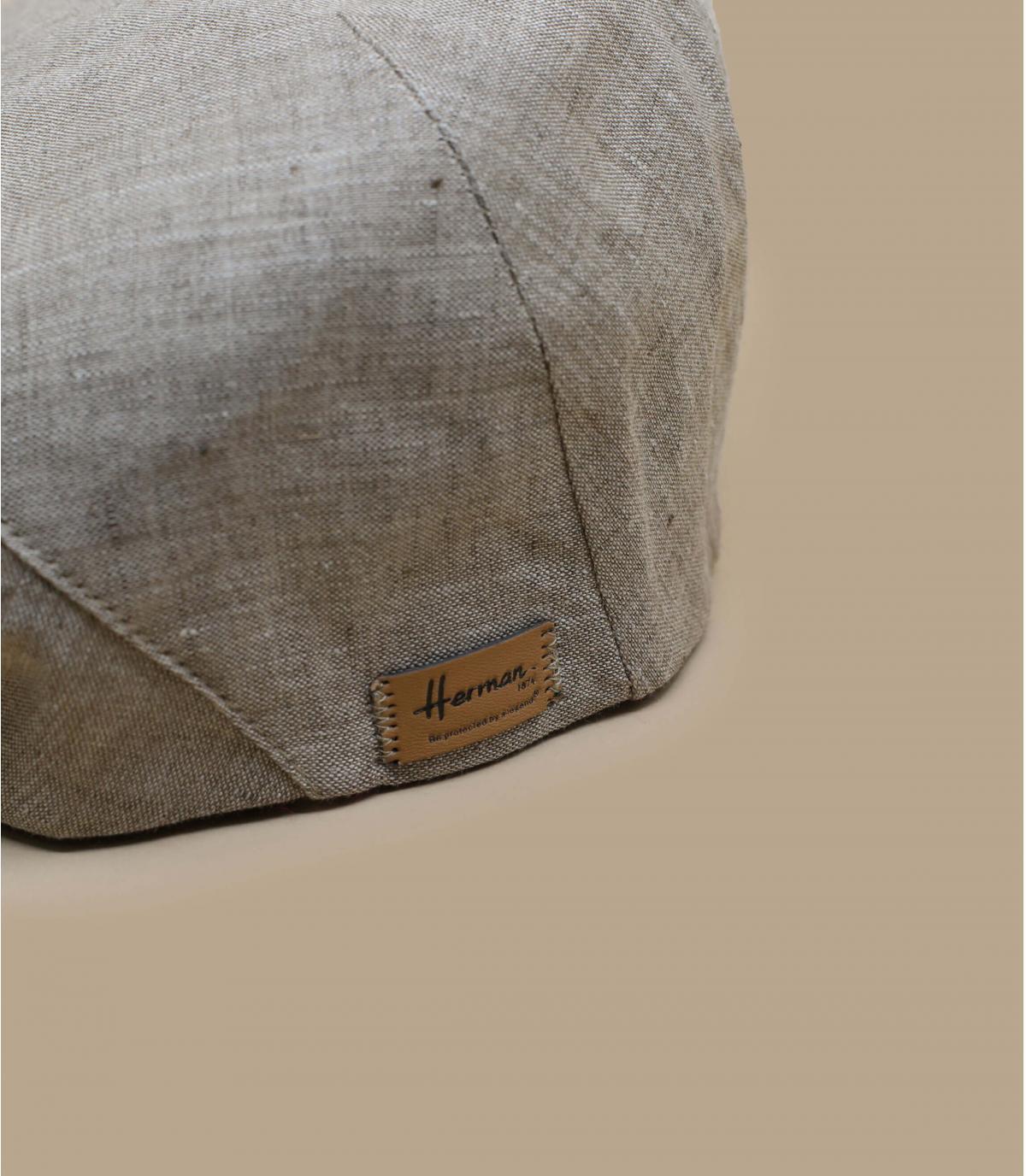 Flatcap Leinen beige