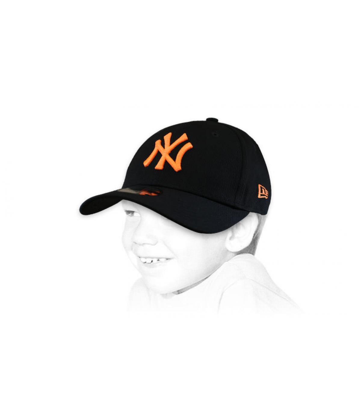 casquette NY enfant schwarz orange