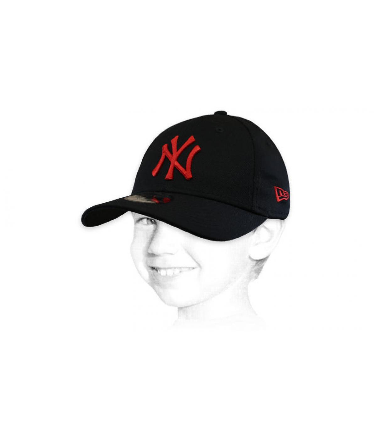 Kinder Cap NY schwarz rot