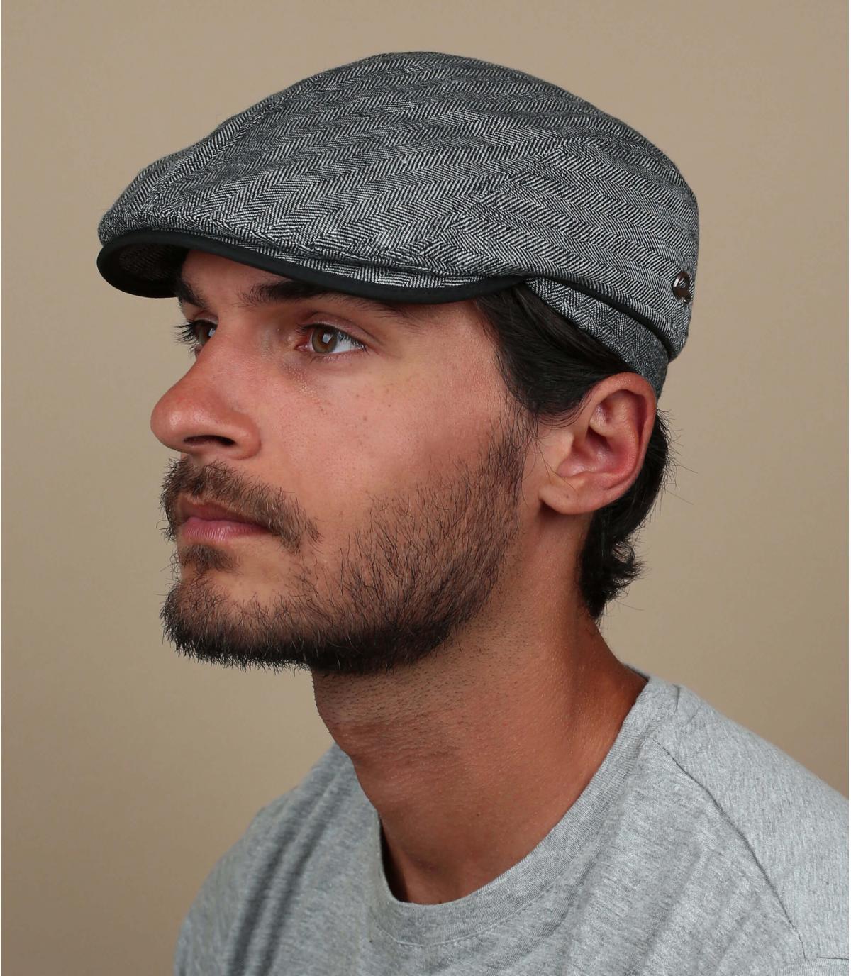 Flatcap Leinen grau