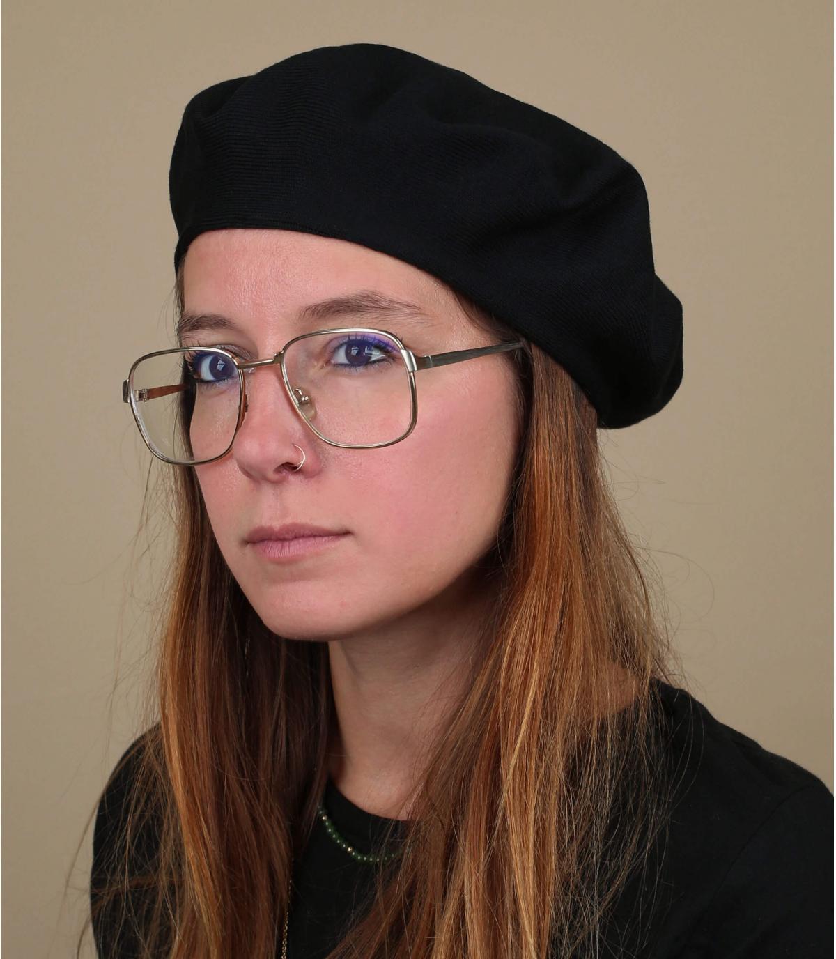Baskenmütze Baumwolle schwarz