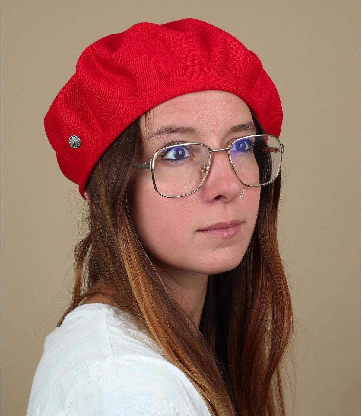 Baskenmütze Baumwolle rot