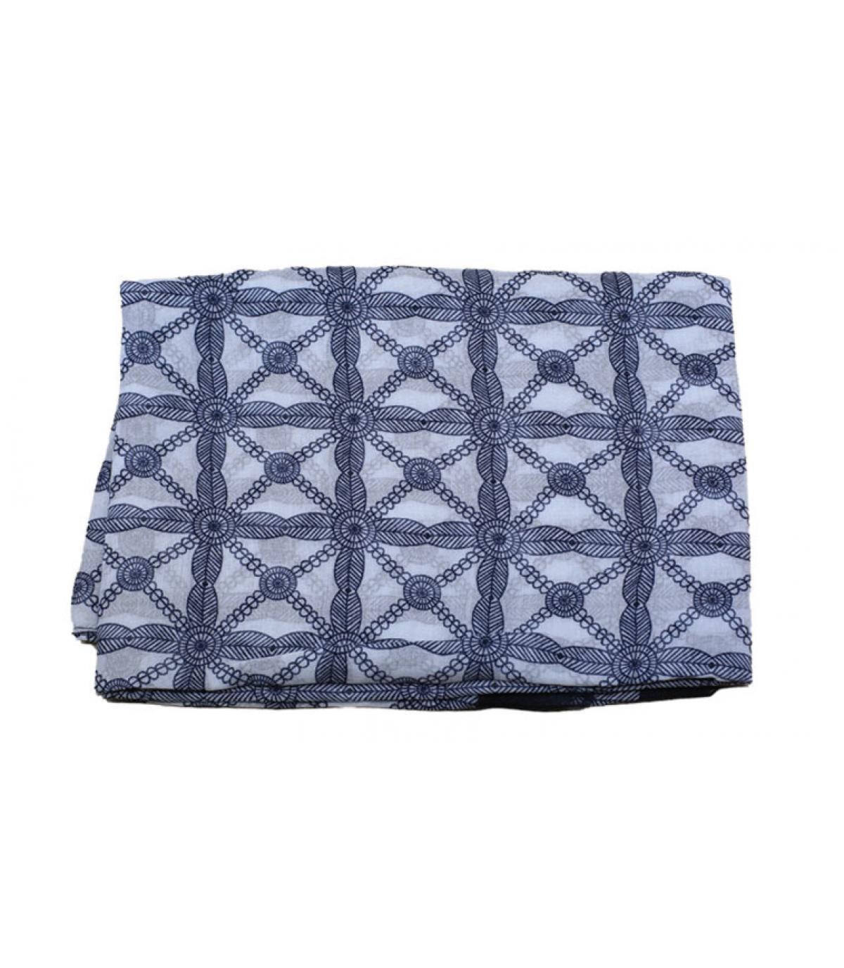 Schal blau weiß Muster