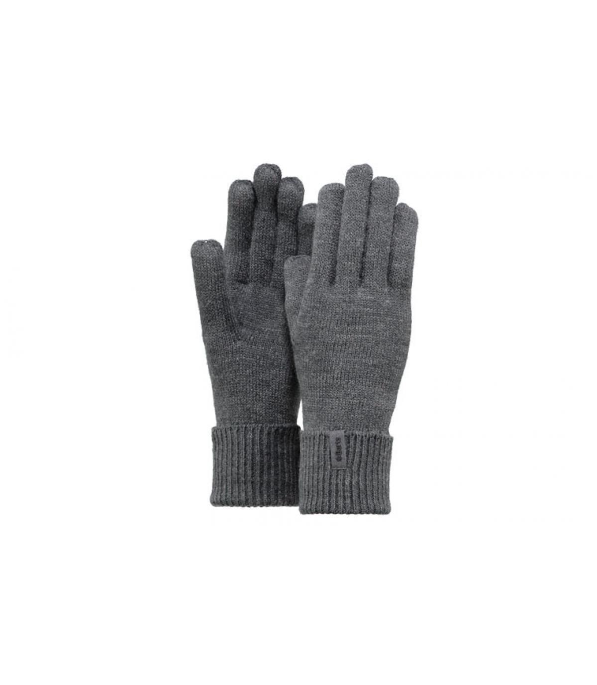 Details Feine gestrickte Handschuhe dunkelgrau - Abbildung 3