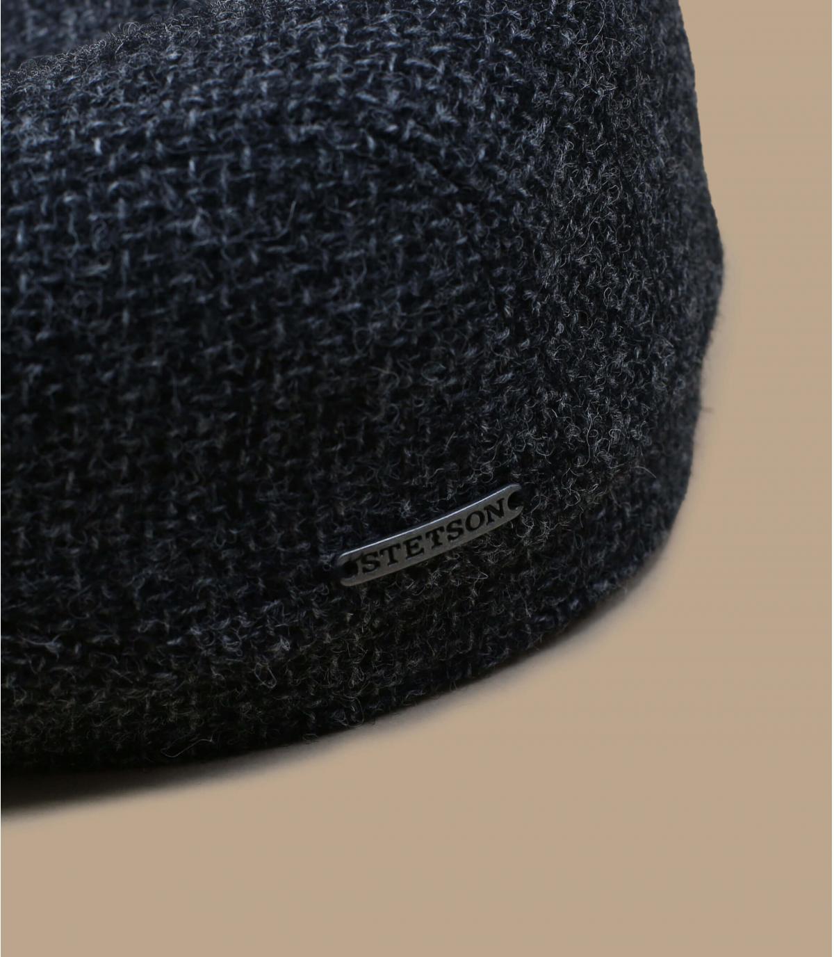 Schiebermütze grau Shetland Wolle
