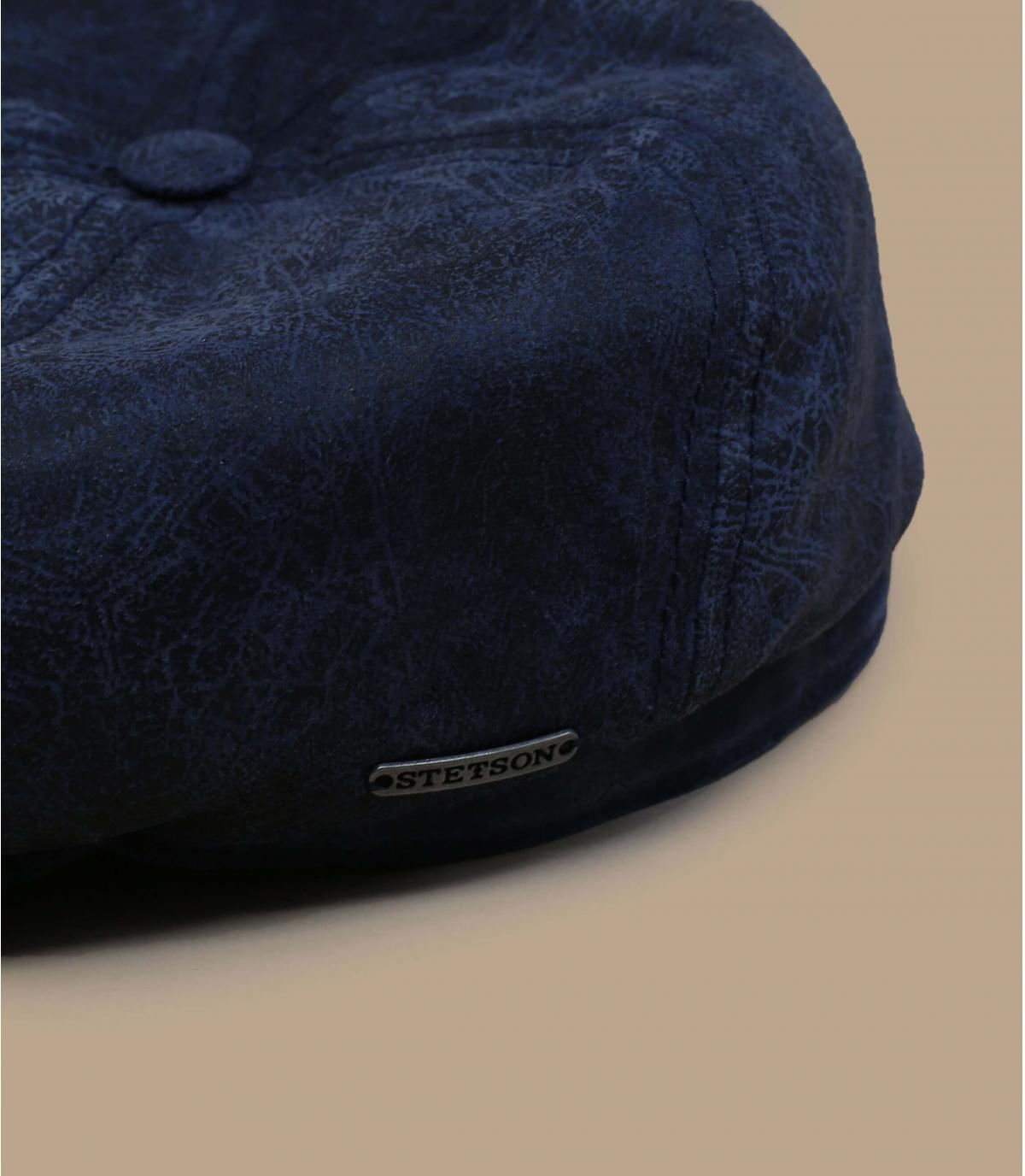 Ballonmütze Leder blau