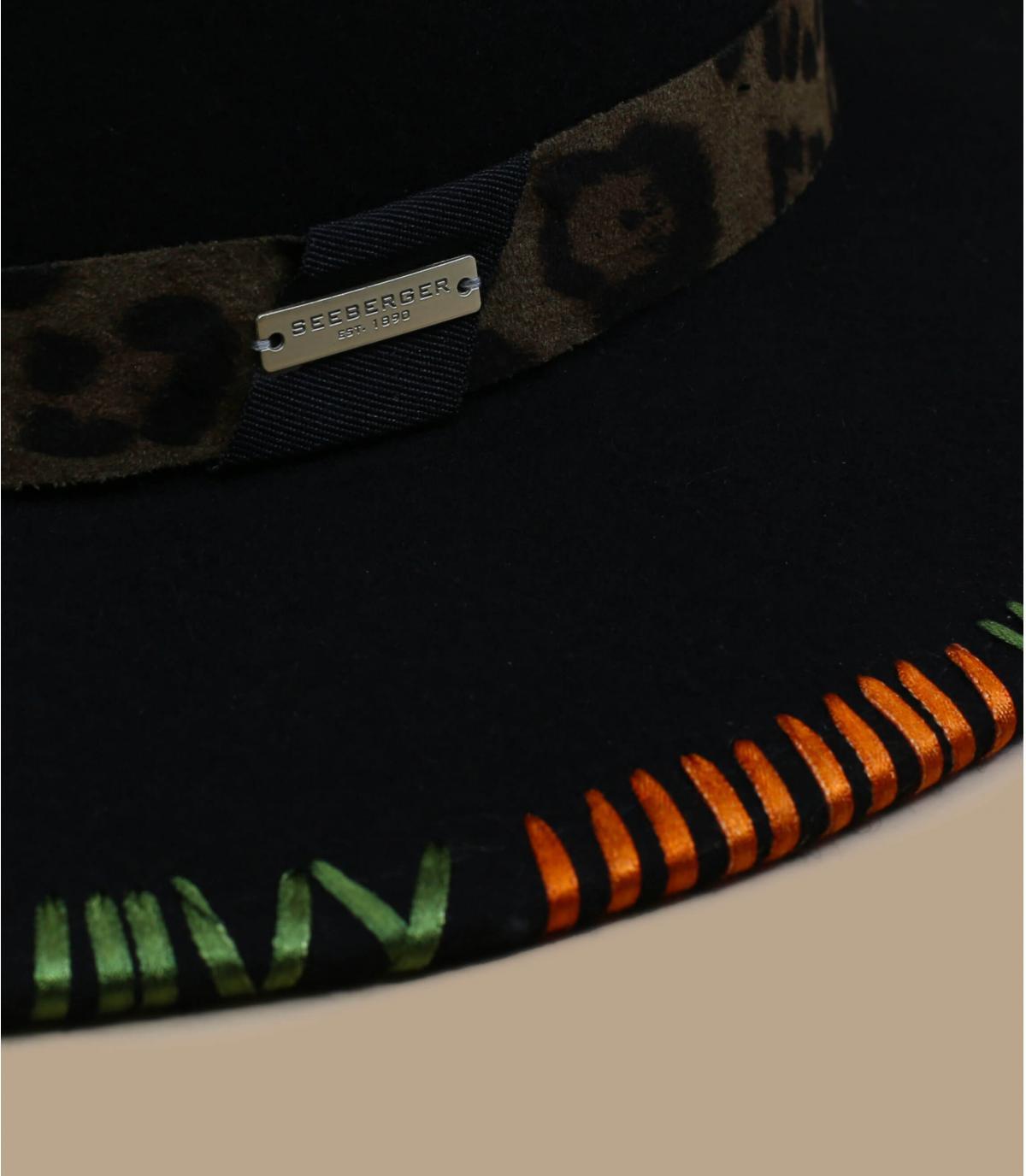 Details Fedora grüner Filzhut mit Stickerei - Abbildung 2